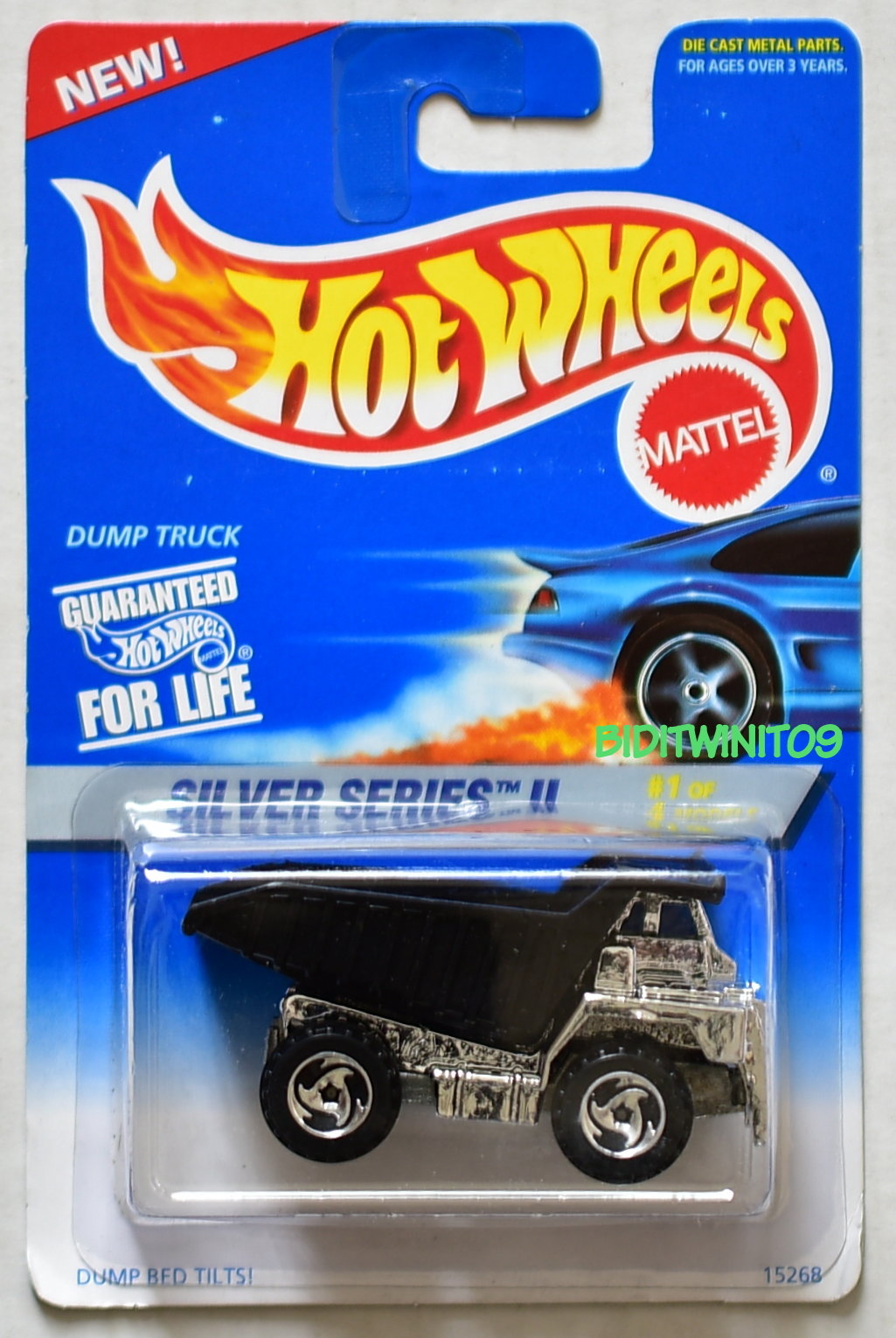 HOT WHEELS 1995 SILVER SERIES II #1/4 DUMP TRUCK BLACK