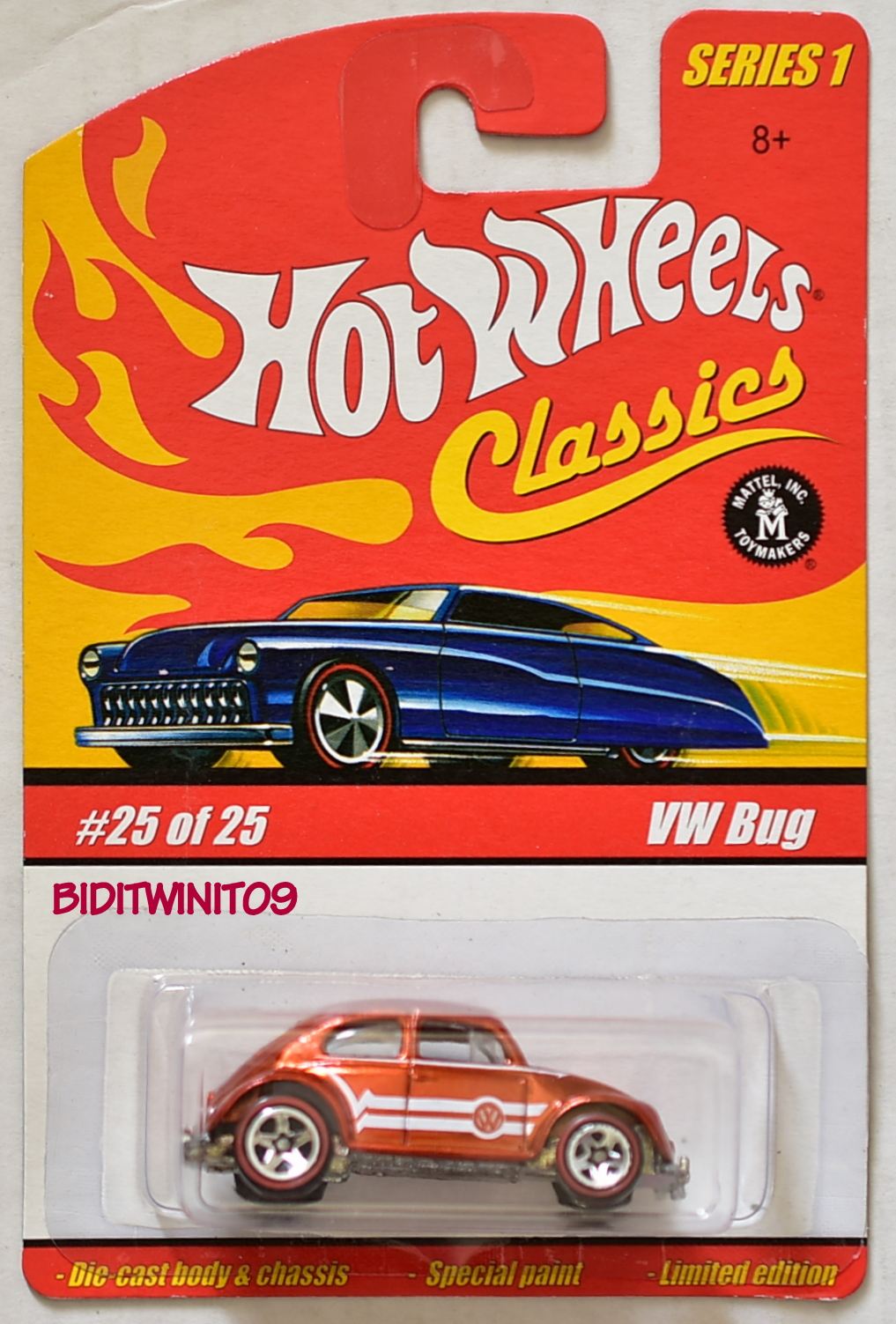 HOT WHEELS CLASSICS SERIES 1 VW BUG #25/25 ORANGE E+