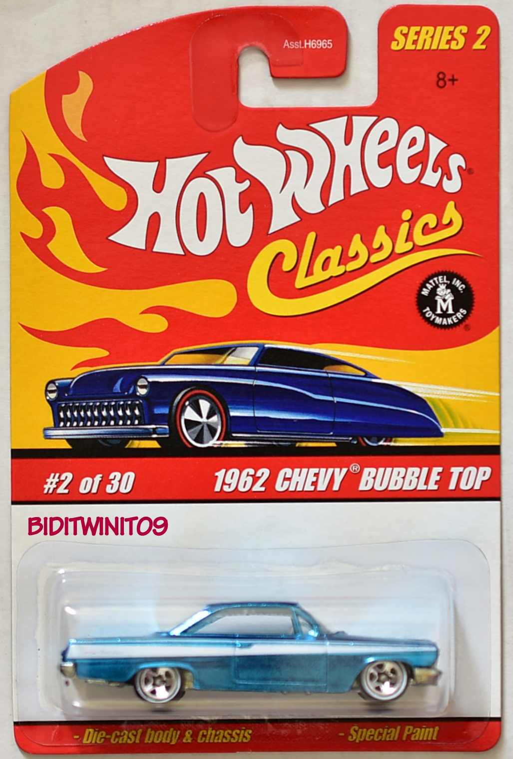 HOT WHEELS CLASSICS SERIES 2 #02/30 1962 CHEVY BUBBLE TOP LIGHT BLUE