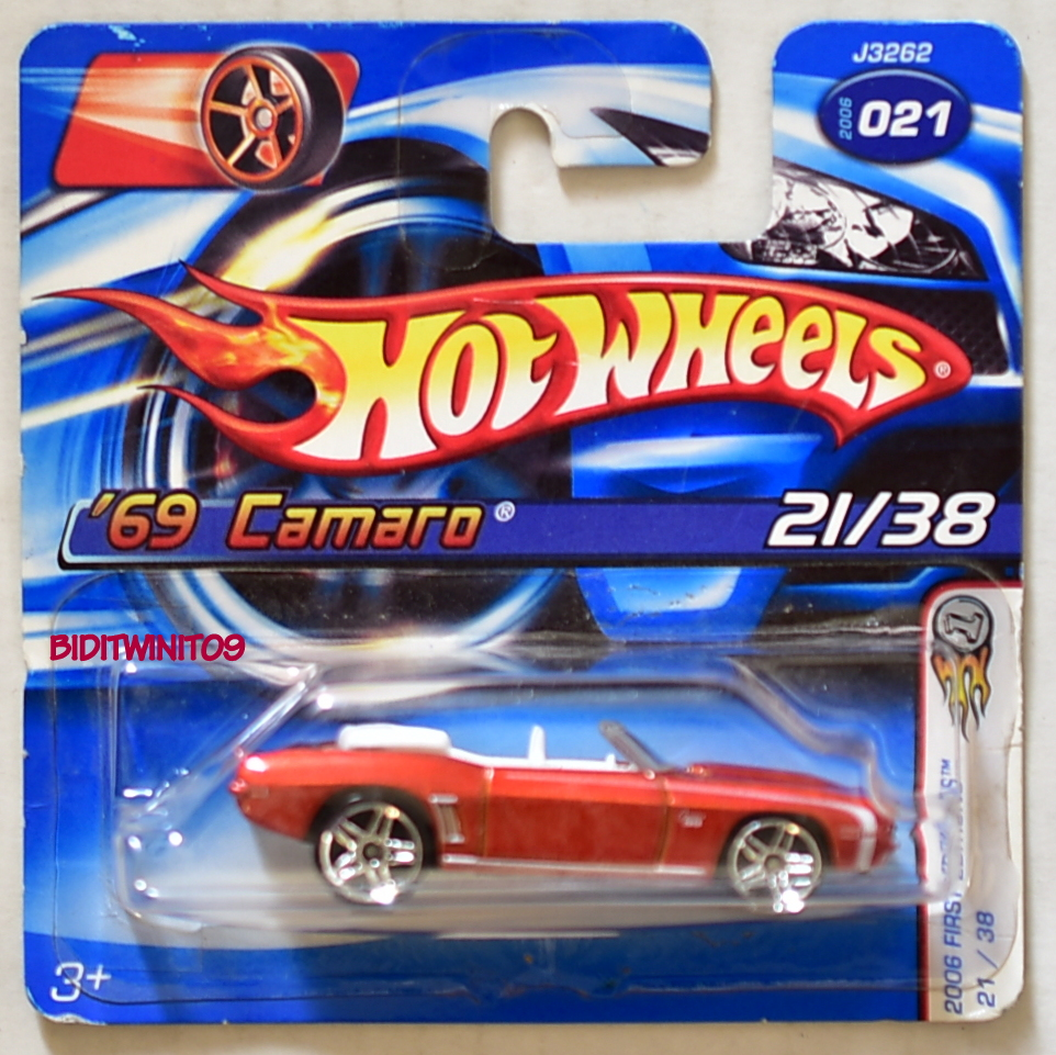HOT WHEELS 2006 FIRST EDITIONS '69 CAMARO #021 RED SHORT CARD E+
