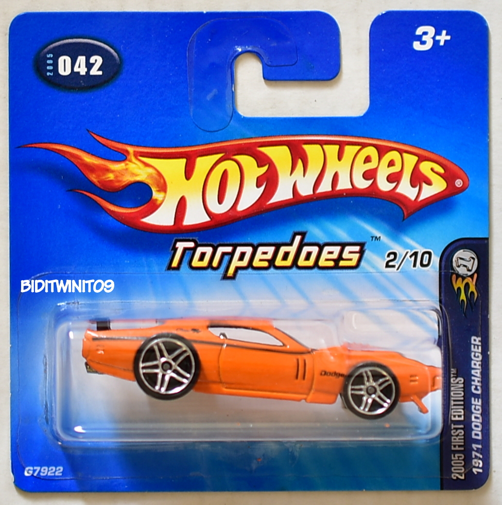 HOT WHEELS 2005 FIRST EDITIONS 1971 DODGE CHARGER TORPEDOES #042 SHORT CARD E+