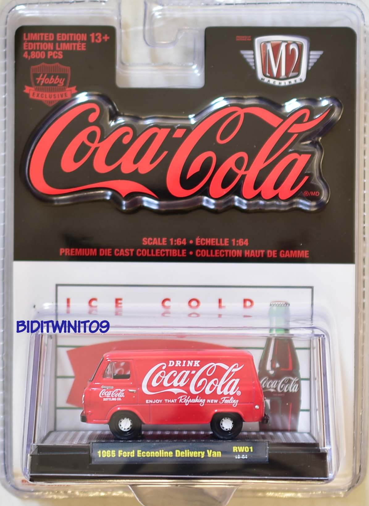 M2 MACHINES COCA COLA COKE HOBBY 1965 FORD ECONOLINE DELIVERY VAN RW01