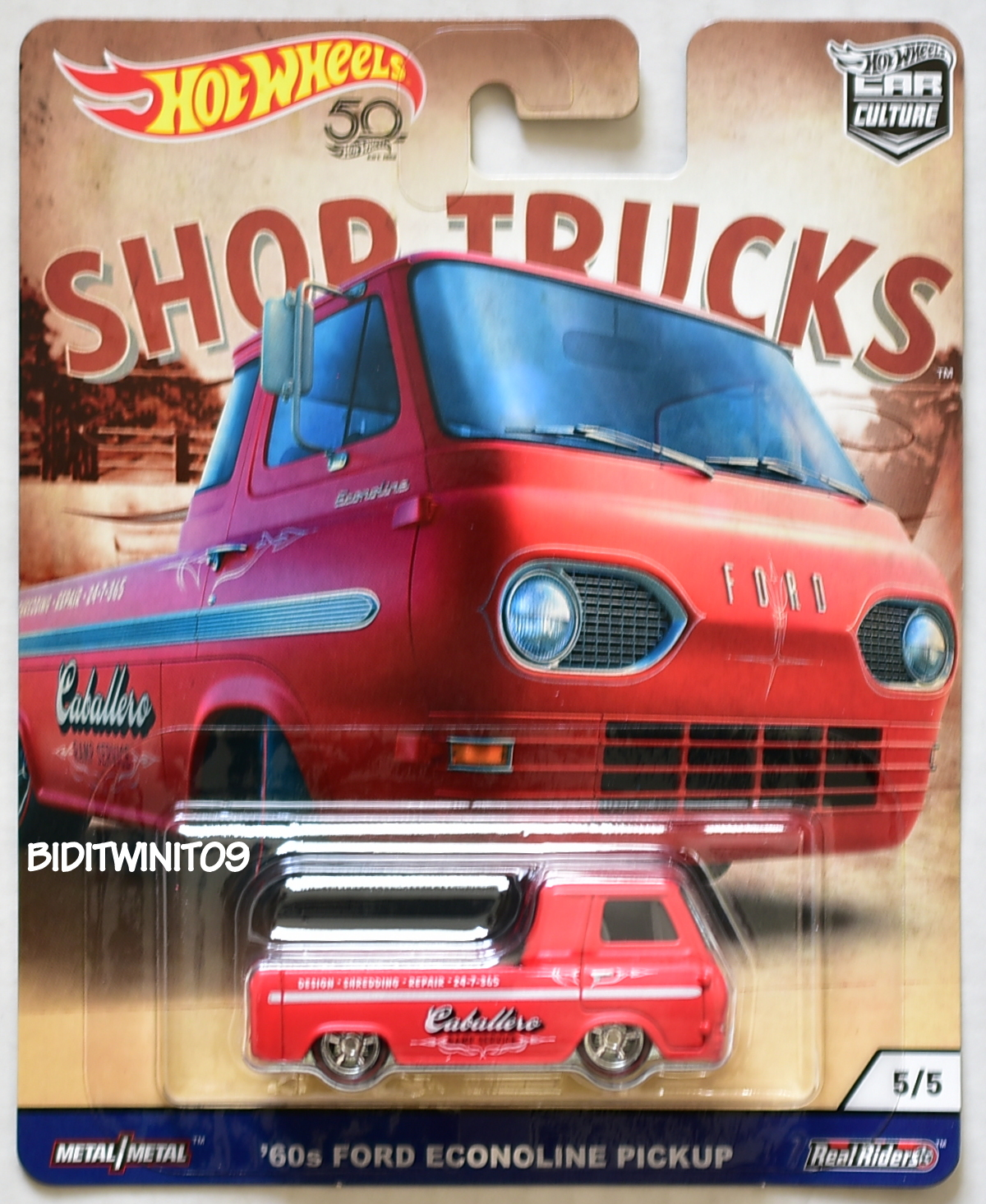 HOT WHEELS 2018 CAR CULTURE SHOP TRUCKS '60S FORD ECONOLINE PICKUP RED