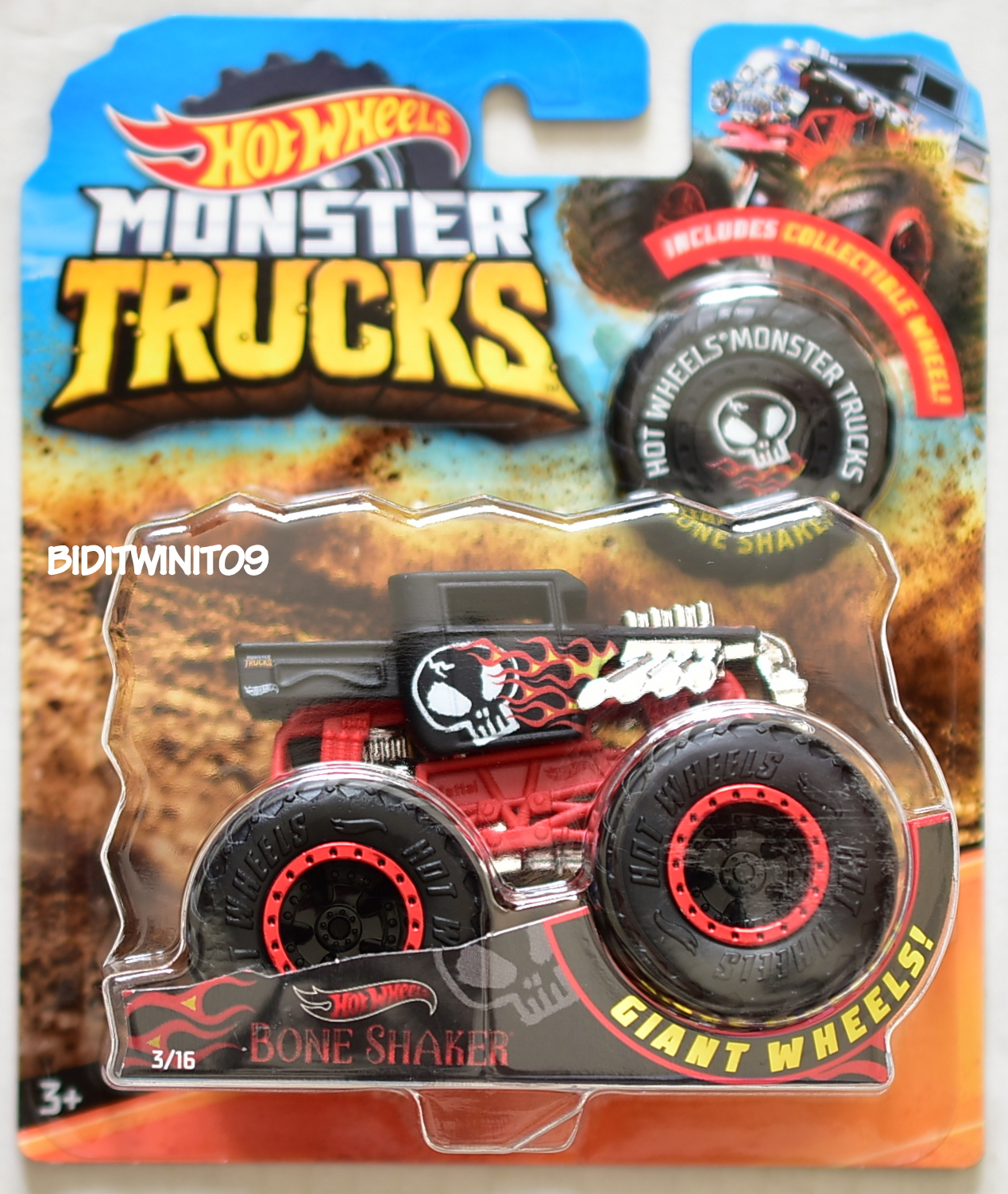HOT WHEELS 2018 MONSTER TRUCKS GIANT WHEELS BONE SHAKER #3/16