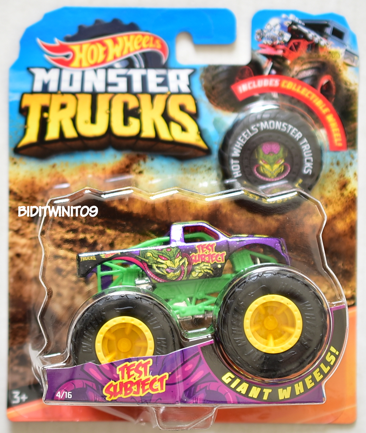 HOT WHEELS 2018 MONSTER TRUCKS GIANT WHEELS TEST SUBJECT #4/16