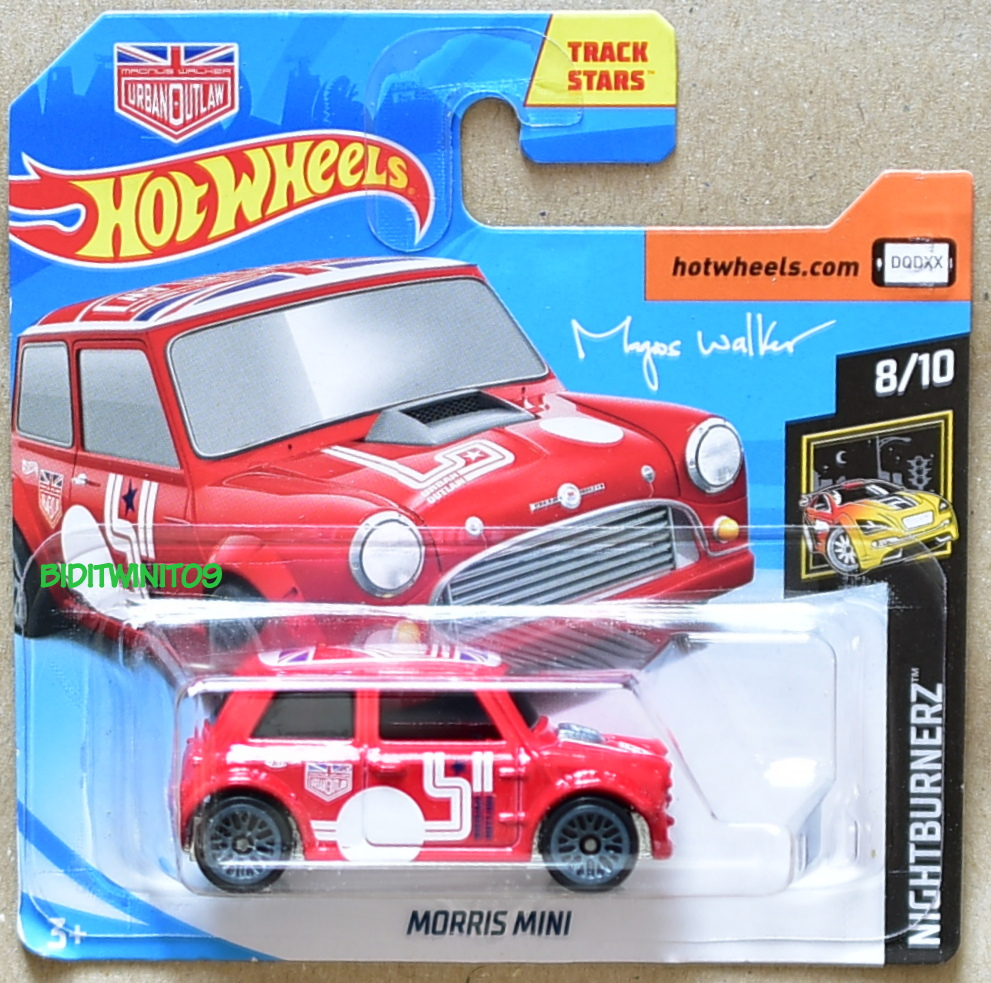 HOT WHEELS 2018 NIGHTBURNERZ MORRIS MINI RED SHORT CARD