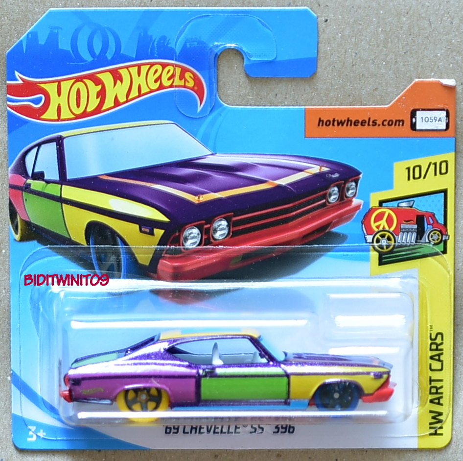HOT WHEELS 2018 HW ART CARS '69 CHEVELLE SS 396 SHORT CARD