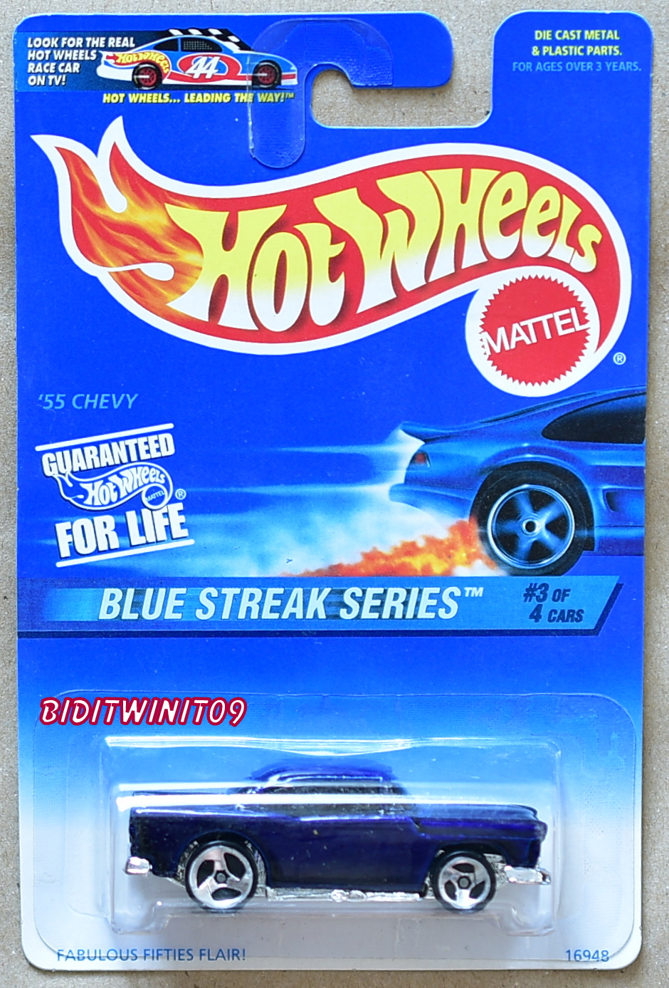 HOT WHEELS 1997 #3/4 BLUE STREAK SERIES 55 CHEVY