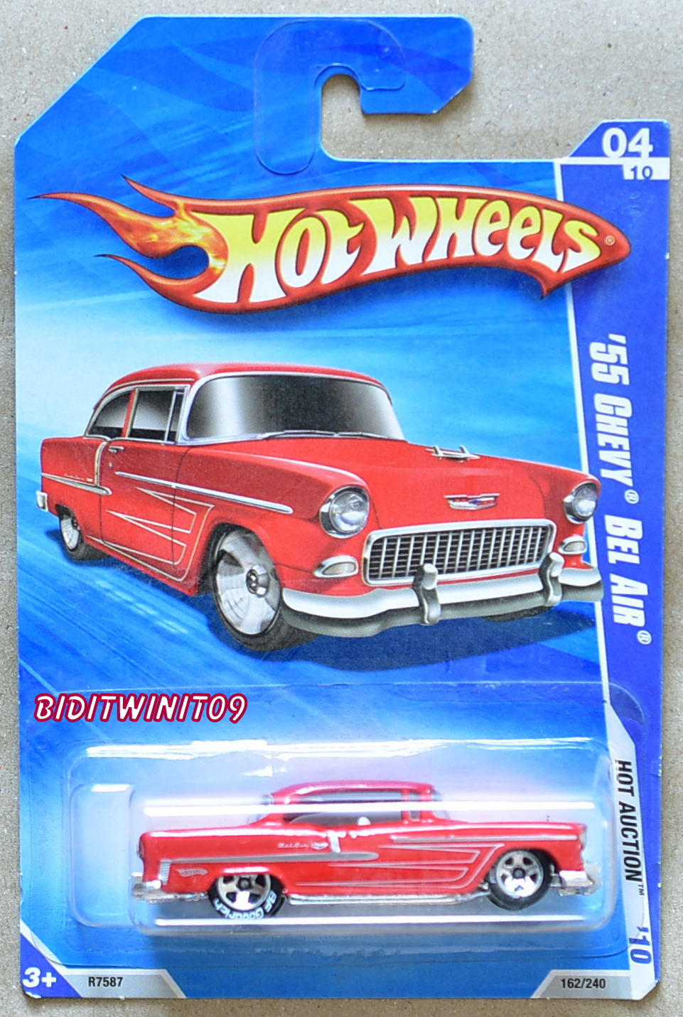 HOT WHEELS 2010 HOT AUCTION '55 CHEVY BEL AIR W/ BF GOODRICH TIRES RED
