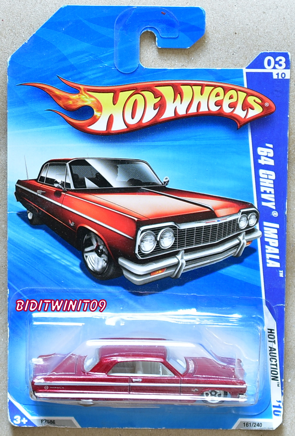 HOT WHEELS 2010 HOT AUCTION '64 CHEVY IMPALA RED