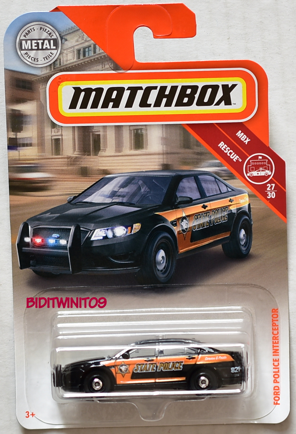 MATCHBOX 2018 MBX RESCUE FORD POLICE INTERCEPTOR