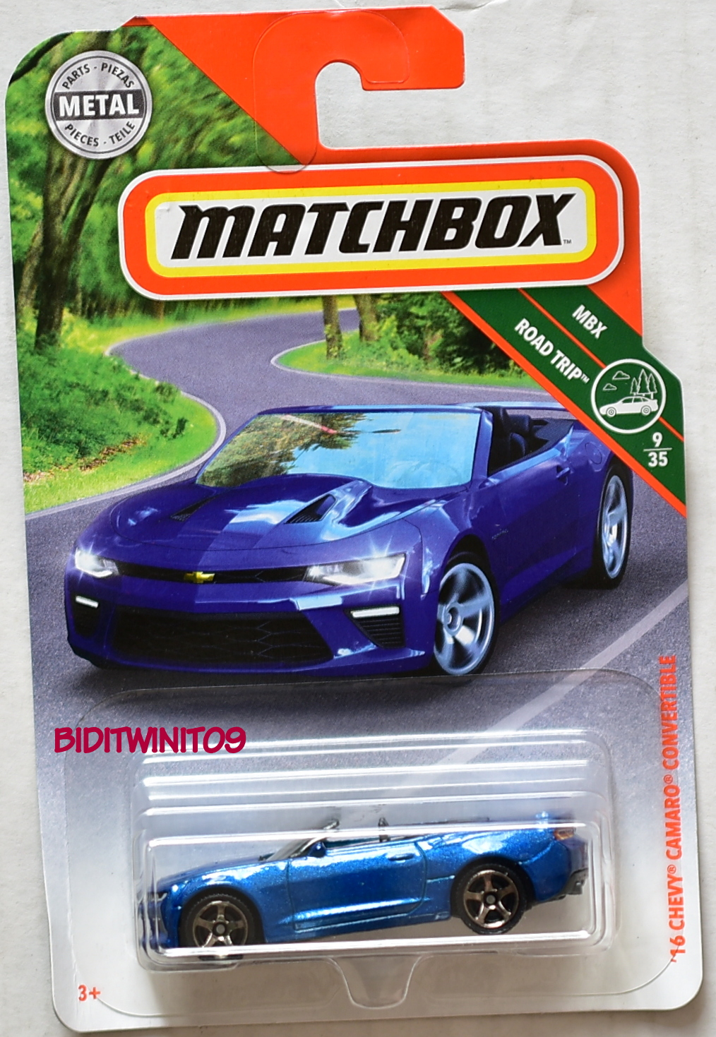 MATCHBOX 2018 MBX ROAD TRIP '16 CHEVY CAMARO CONVERTIBLE BLUE