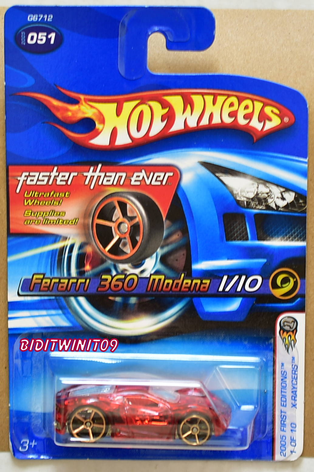 HOT WHEELS 2005 FTE FIRST EDITIONS X-RAYCERS FERRARI 360 MODENA RED E+