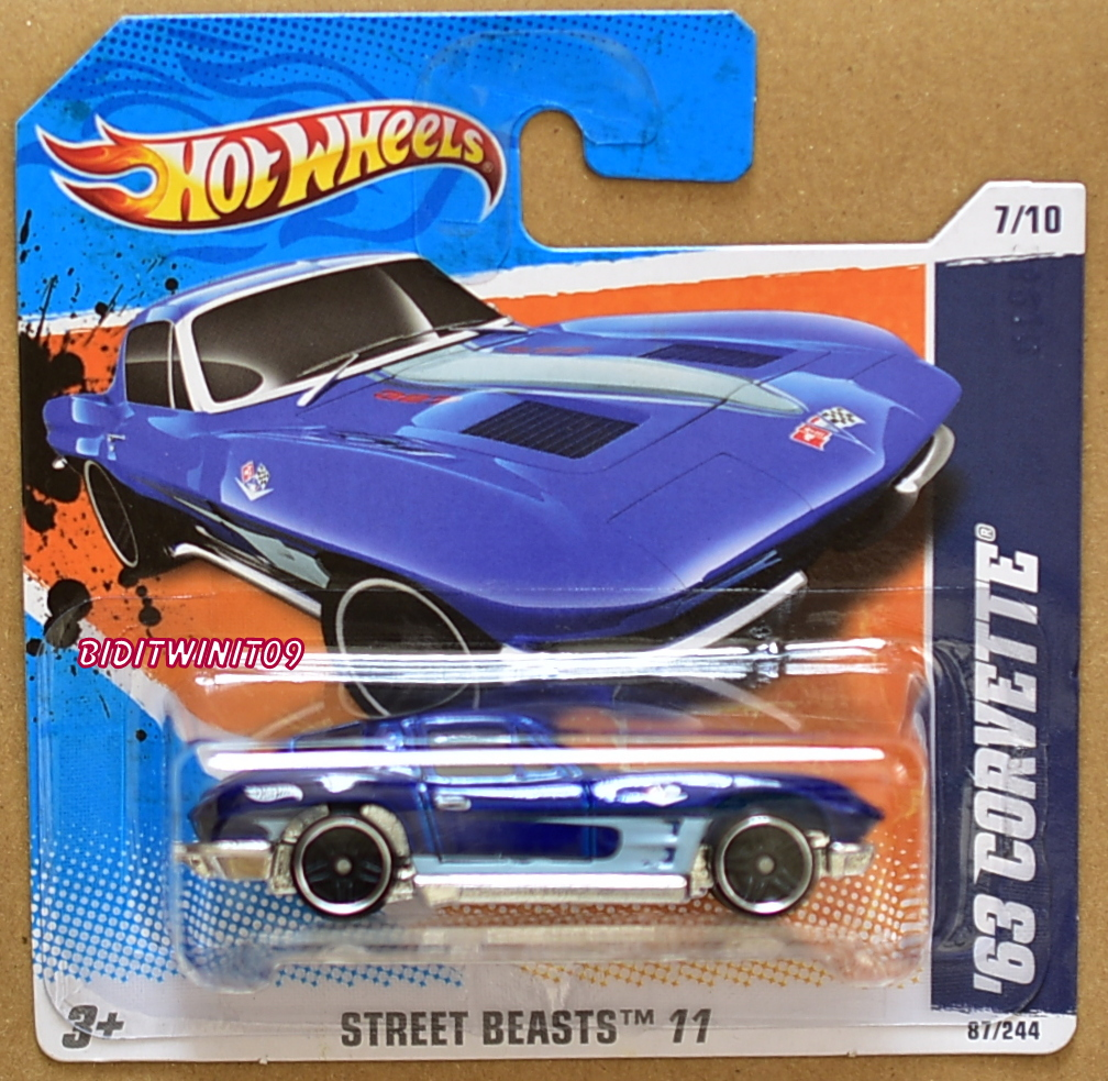HOT WHEELS 2011 STREET BEASTS '63 CORVETTE #7/10 BLUE SHORT CARD E+