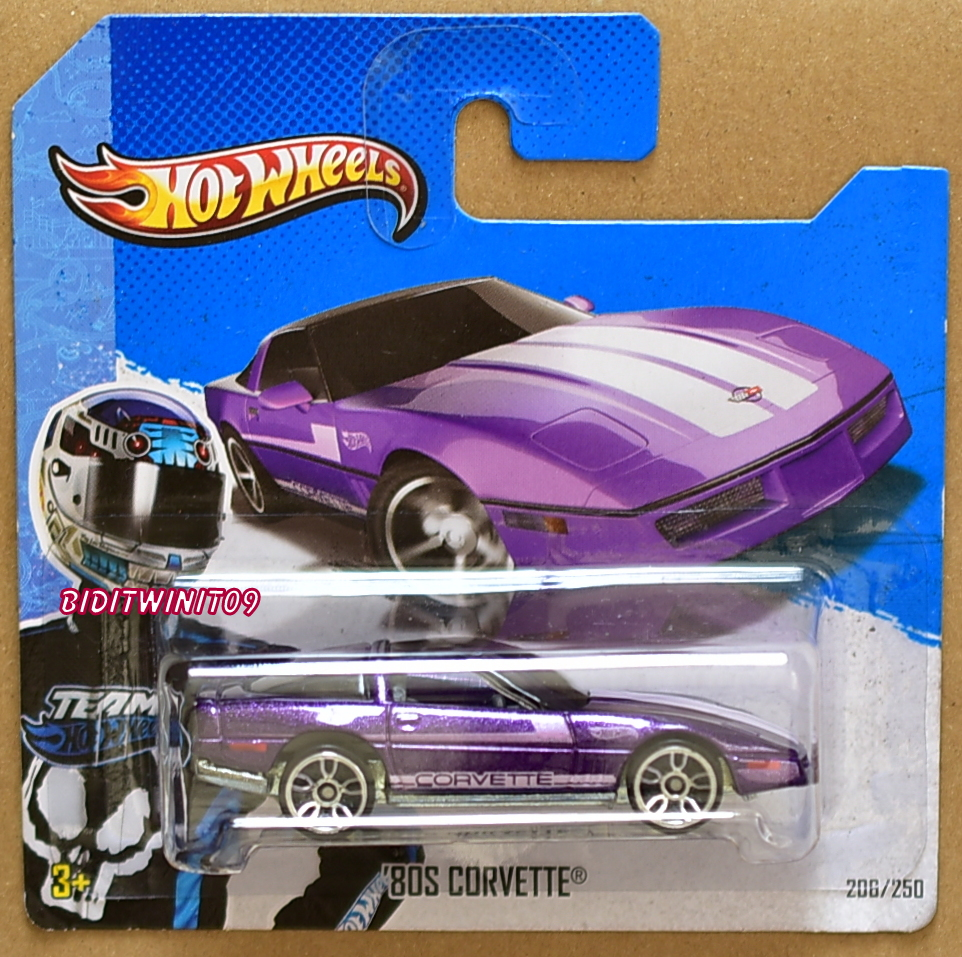 HOT WHEELS 2013 TEAM '80S CORVETTE PURPLE SHORT CARD E+