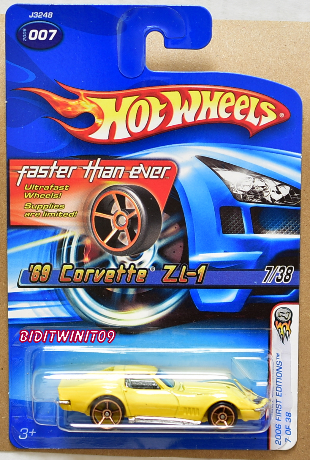 HOT WHEELS 2006 FTE FIRST EDITIONS '69 CORVETTE ZL-1 #007 YELLOW