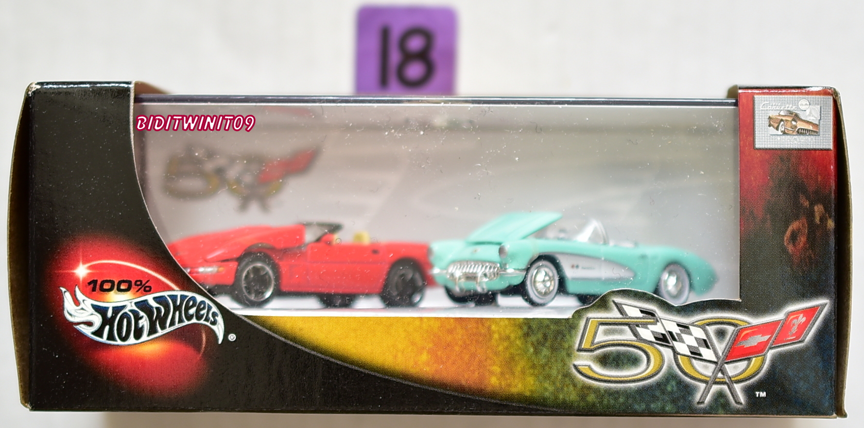100% HOT WHEELS 50 YEARS OF CORVETTE 2 CAR PACK E+