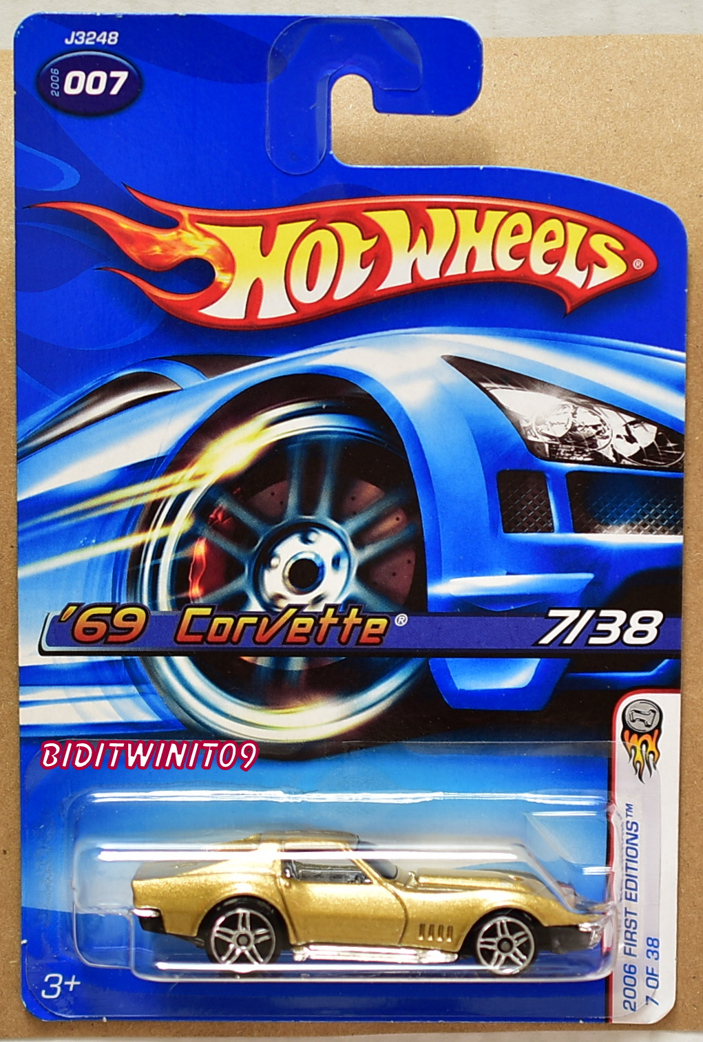 HOT WHEELS 2006 FIRST EDITIONS '69 CORVETTE GOLD #007