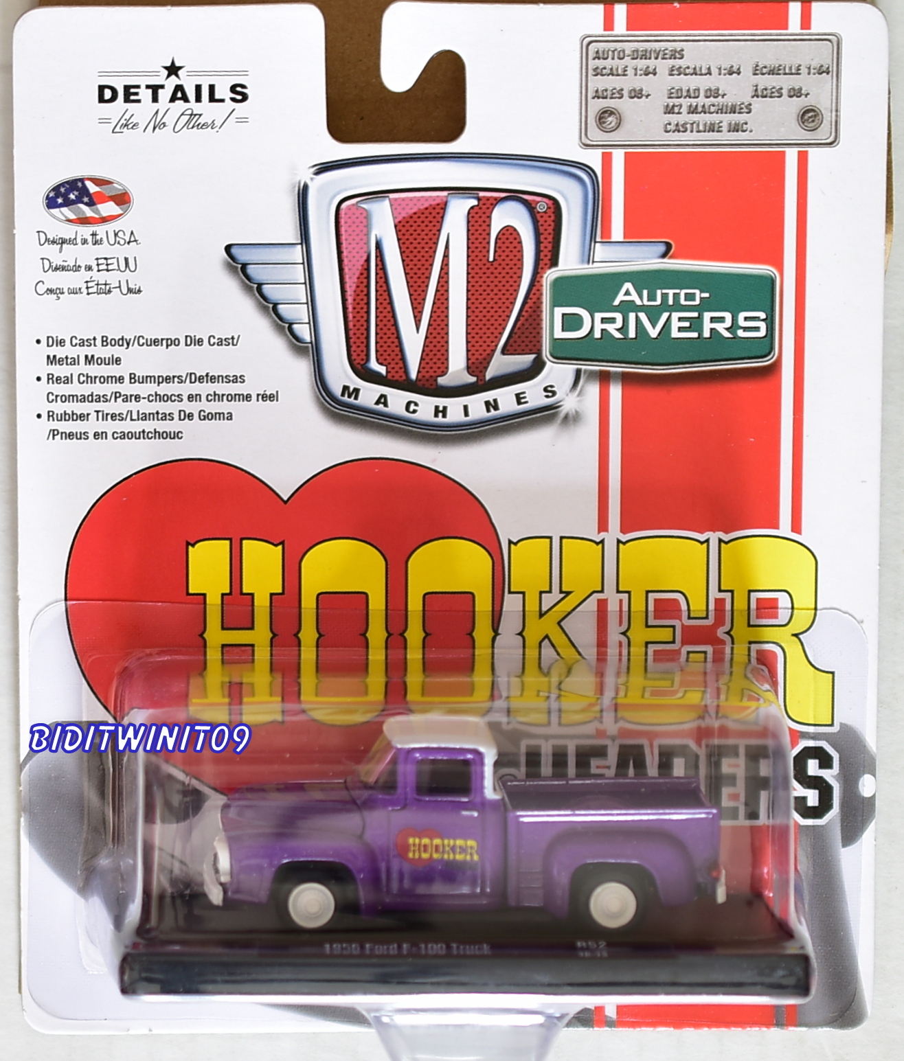 M2 MACHINES AUTO-DRIVERS HOOKER HEADERS 1956 FORD F-100 TRUCK R52 CHASE E+