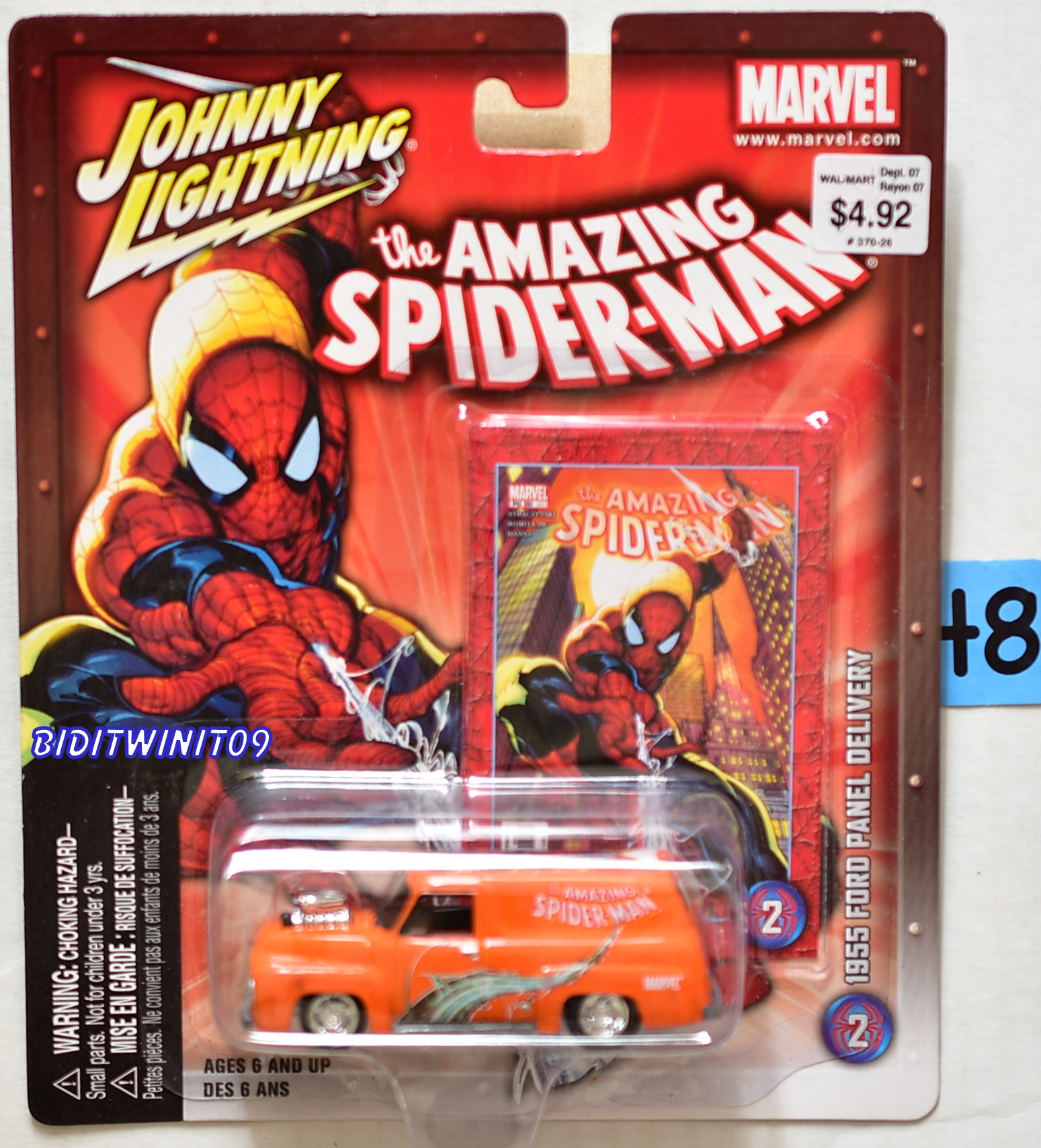 JOHNNY LIGHTNING MARVEL THE AMAZING SPIDER-MAN 1955 FORD PANEL DELIVERY #2 E+
