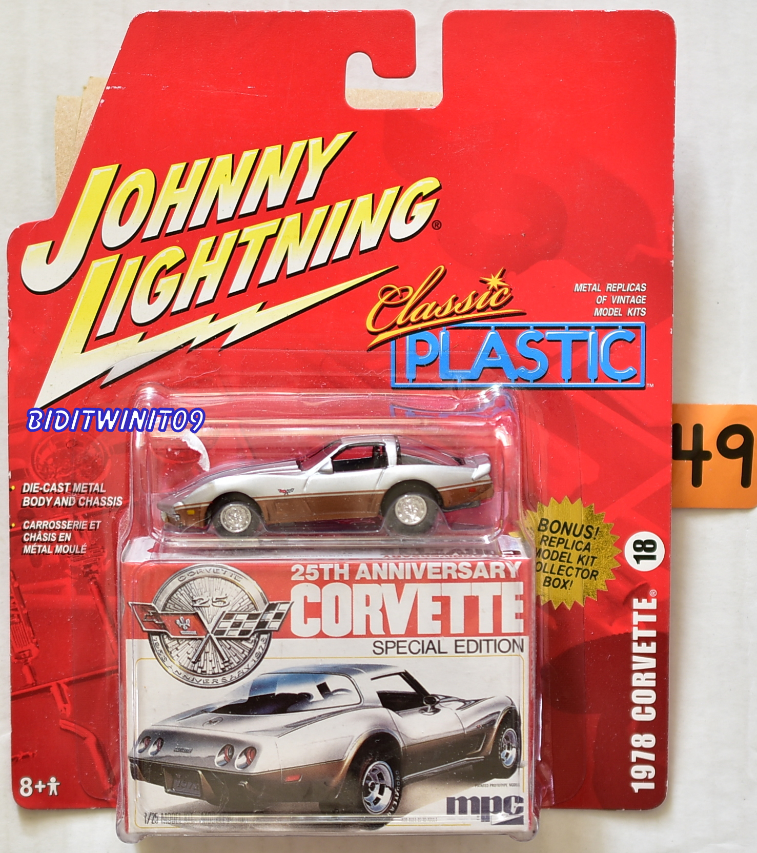 JOHNNY LIGHTNING 25TH ANNIVERSARY CLASSIC PLASTIC 1978 CORVETTE #18 E+