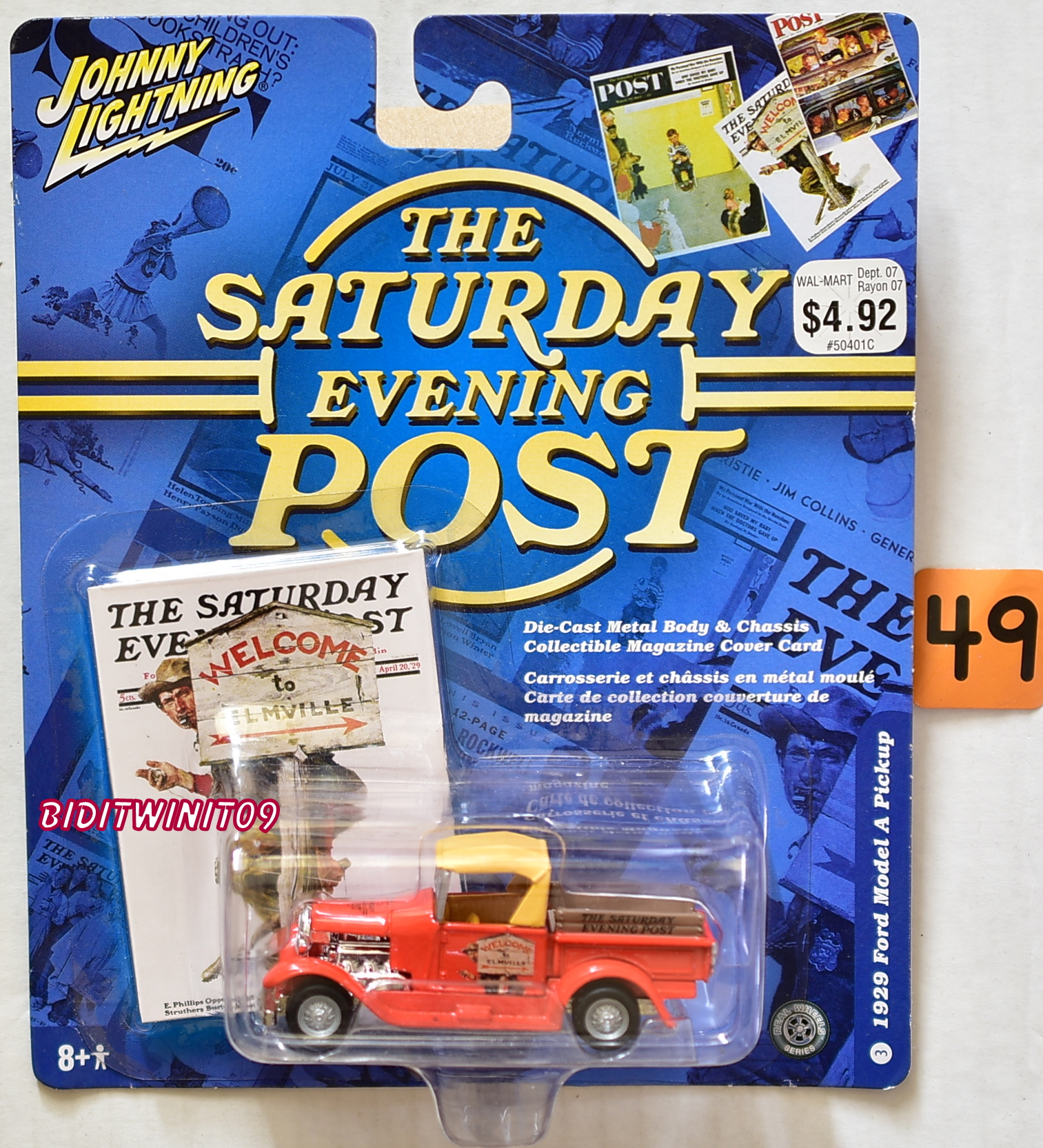 JOHNNY LIGHTNING SATURDAY EVENING POST 1929 FORD MODEL A PICKUP E+