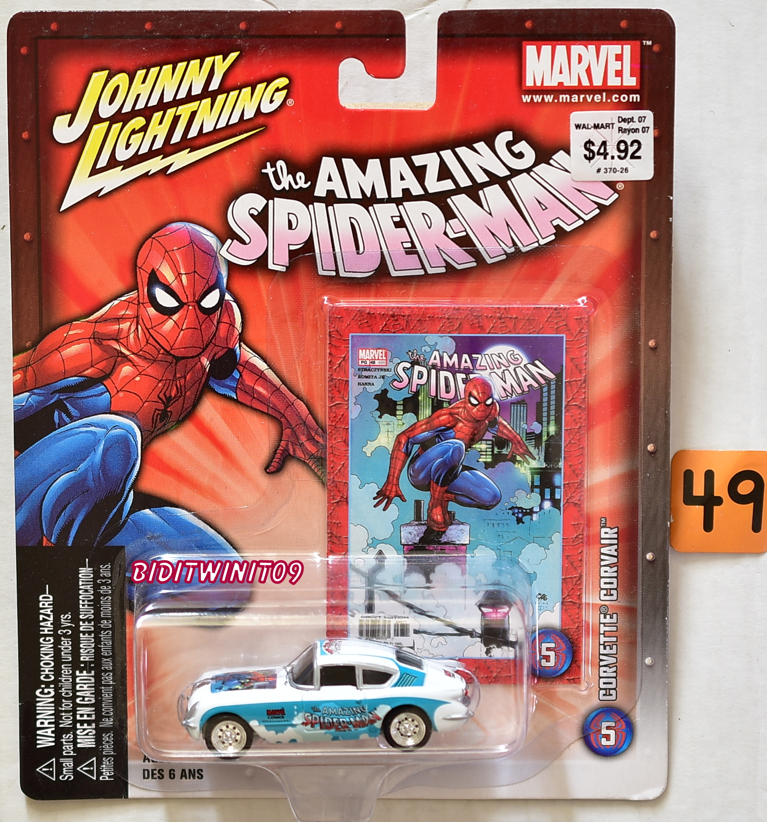 JOHNNY LIGHTNING MARVEL THE AMAZING SPIDER-MAN CORVETTE CORVAIR #5