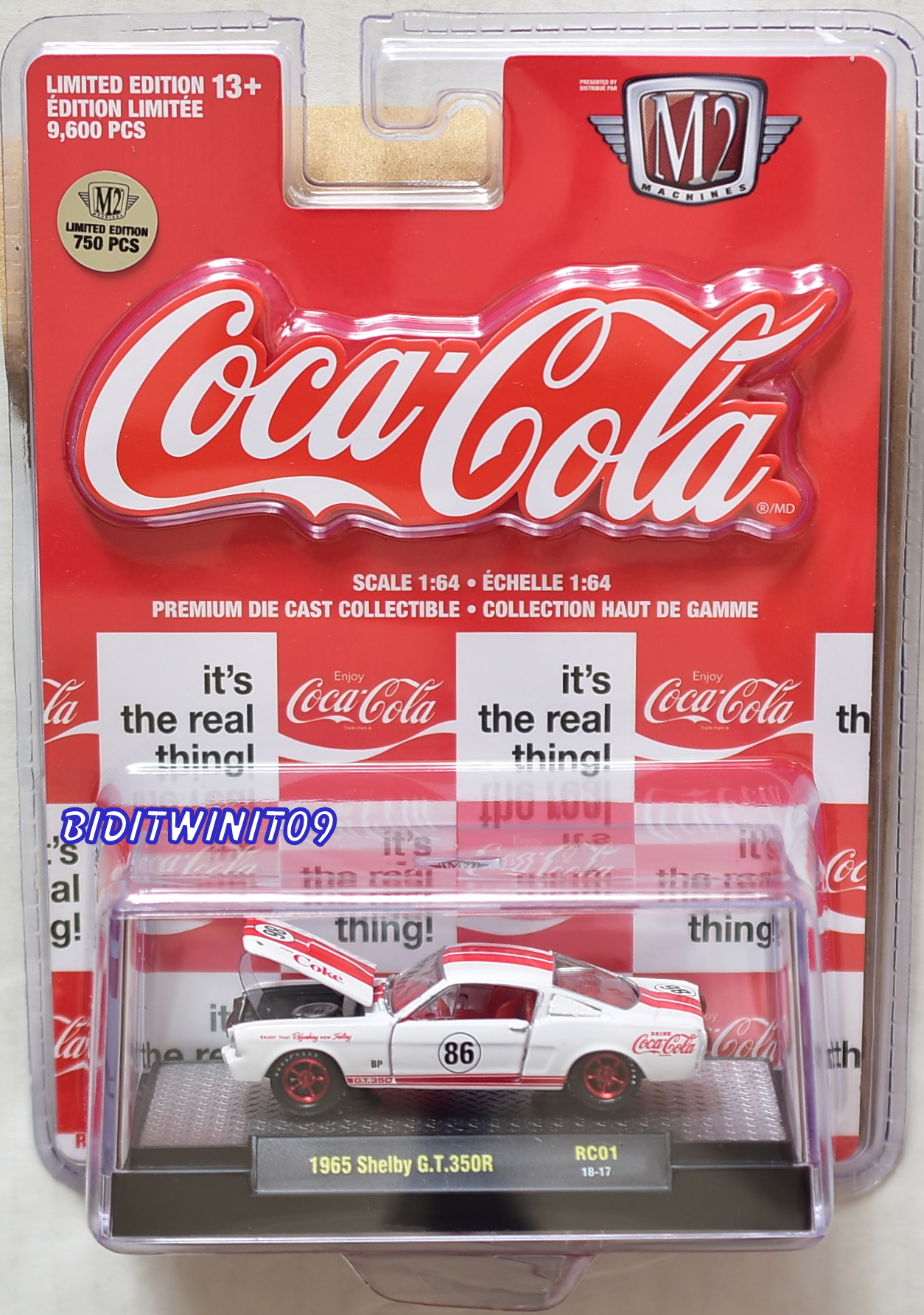 M2 MACHINES COCA COLA COKE HOBBY 1965 SHELBY MUSTANG GT 350R RC01 CHASE E+