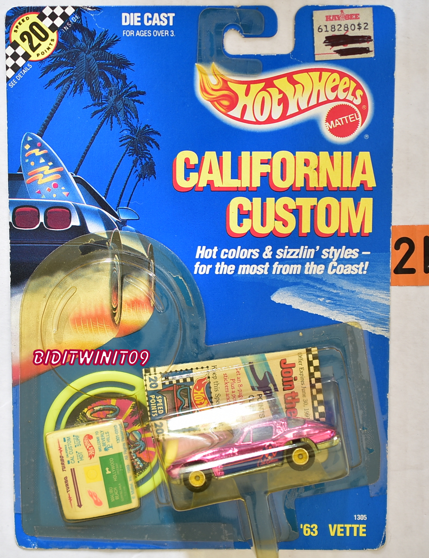 HOT WHEELS 1989 CALIFORNIA CUSTOM '63 VETTE PINK BAD CARD E+