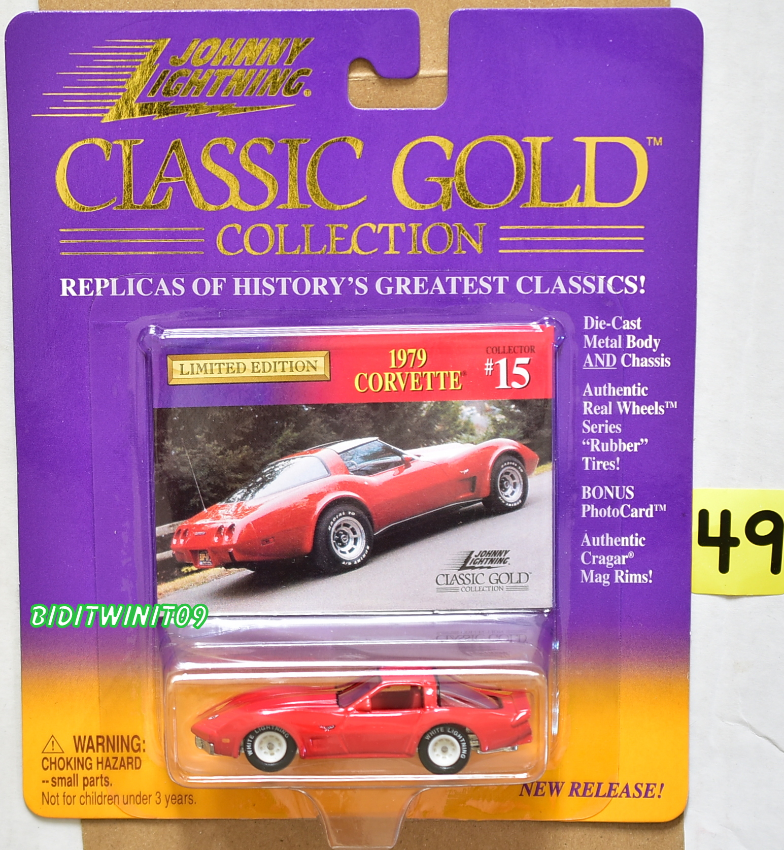 JOHNNY LIGHTNING CLASSIC GOLD 1979 CORVETTE #15 WHITE LIGHTNING E+