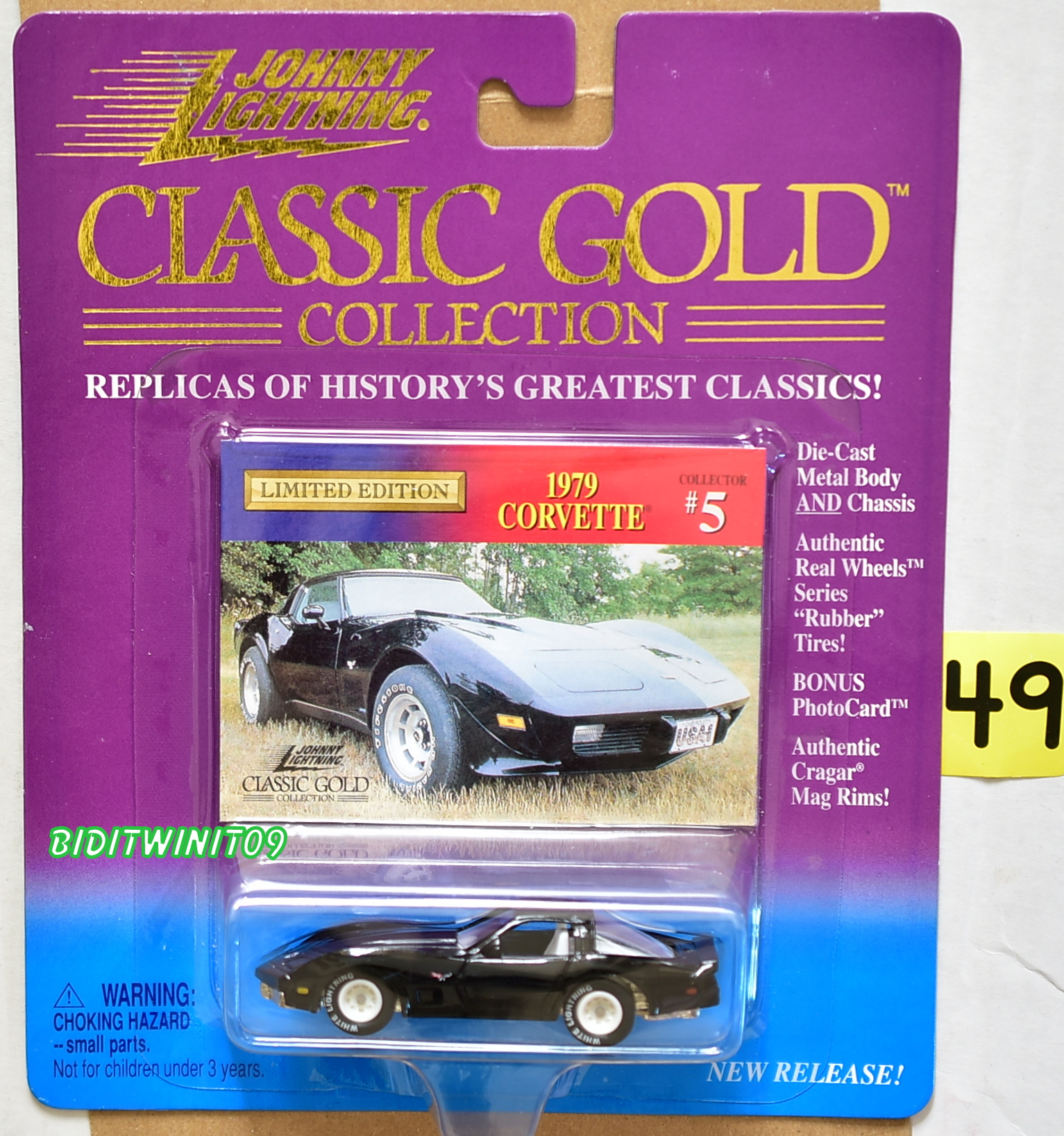 JOHNNY LIGHTNING CLASSIC GOLD 1979 CORVETTE #5 BLACK WHITE LIGHTNING E+