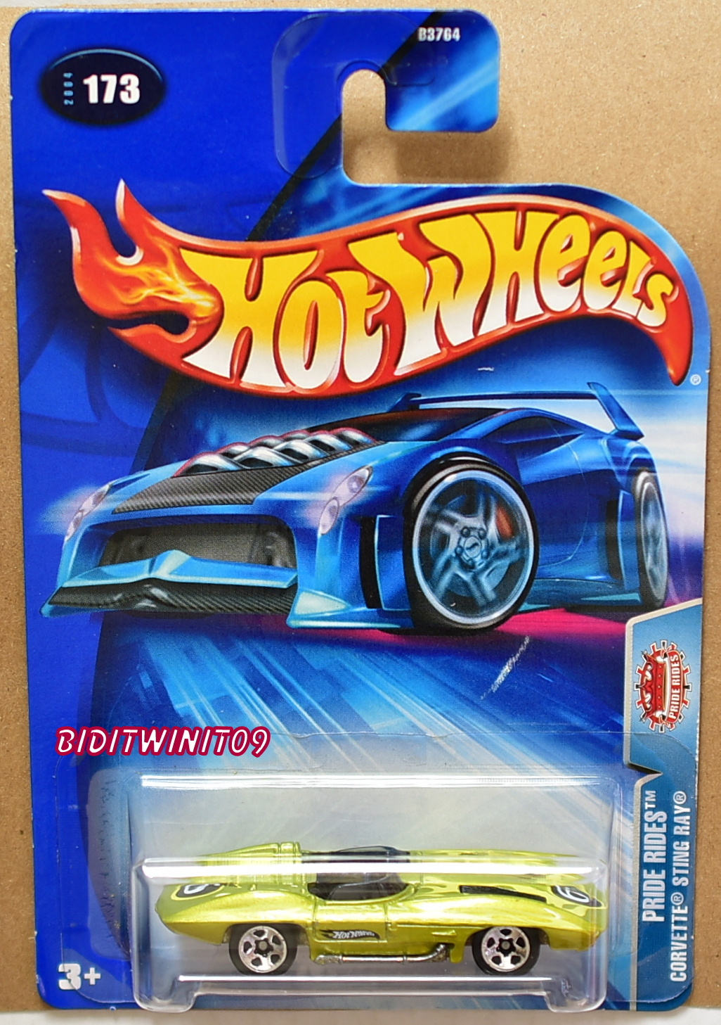 HOT WHEELS 2004 PRIDE RIDES CORVETTE STINGRAY #173 NO HEAD REST ERROR E+