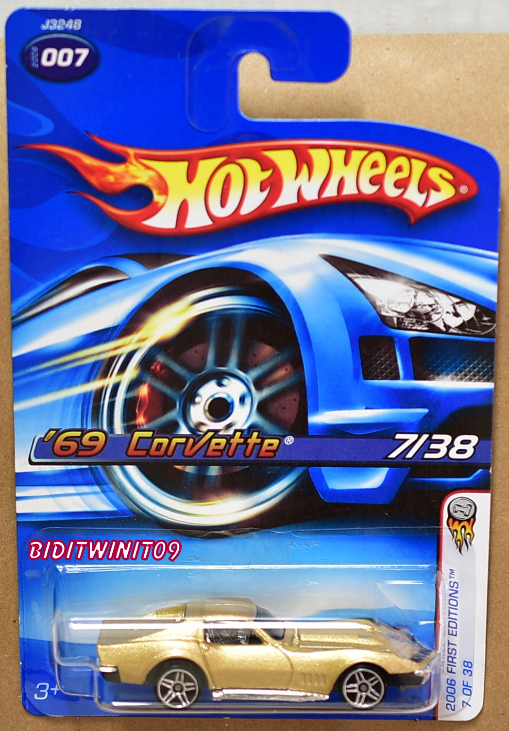 HOT WHEELS 2006 FIRST EDITIONS '69 CORVETTE #007 GOLD ALL SMALL WHEELS ERROR E+