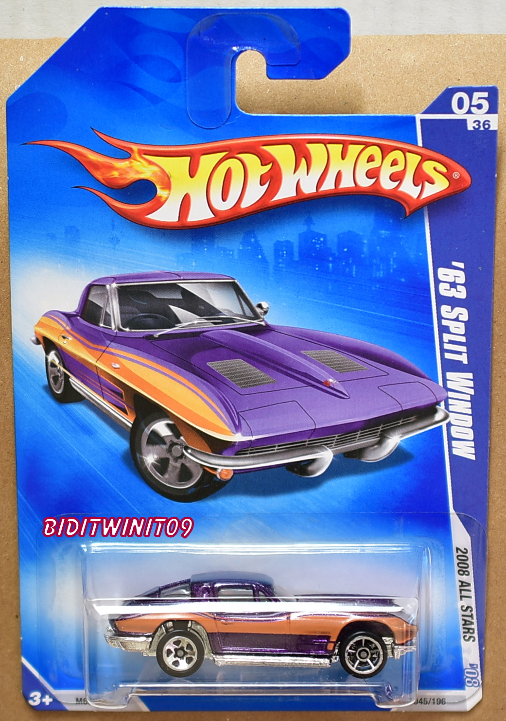 HOT WHEELS 2008 ALL STARS '63 SPLIT WINDOW PURPLE WHEELS ERROR E+