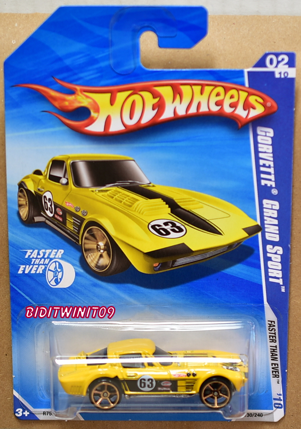 HOT WHEELS 2010 FASTER THAN EVER CORVETTE GRAND SPORT YELLOW MISLOCATED SEATS E+