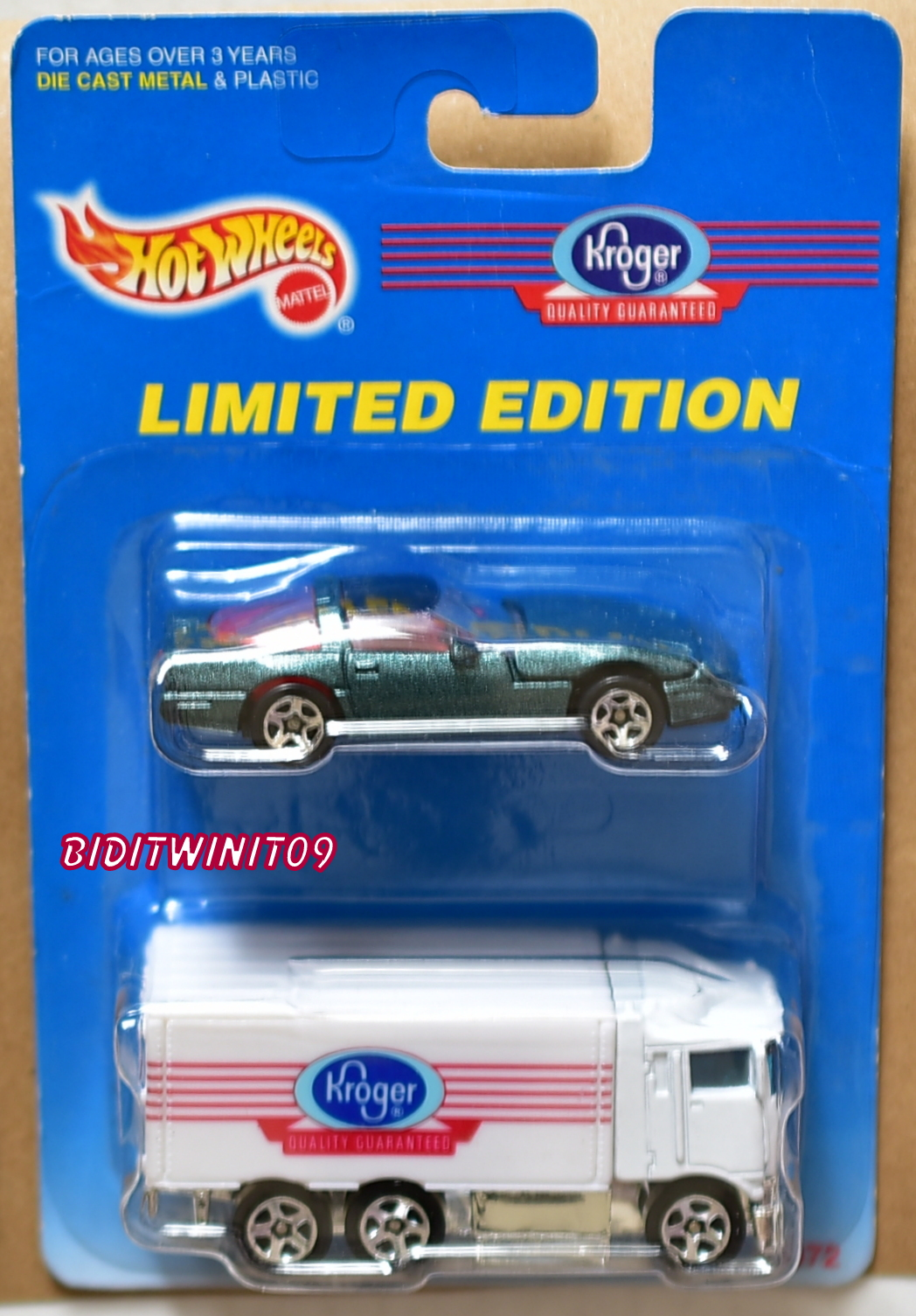 HOT WHEELS 1997 KROGER CHEVROLET CORVETTE - HIWAY HAULER 2 CAR PACK E+