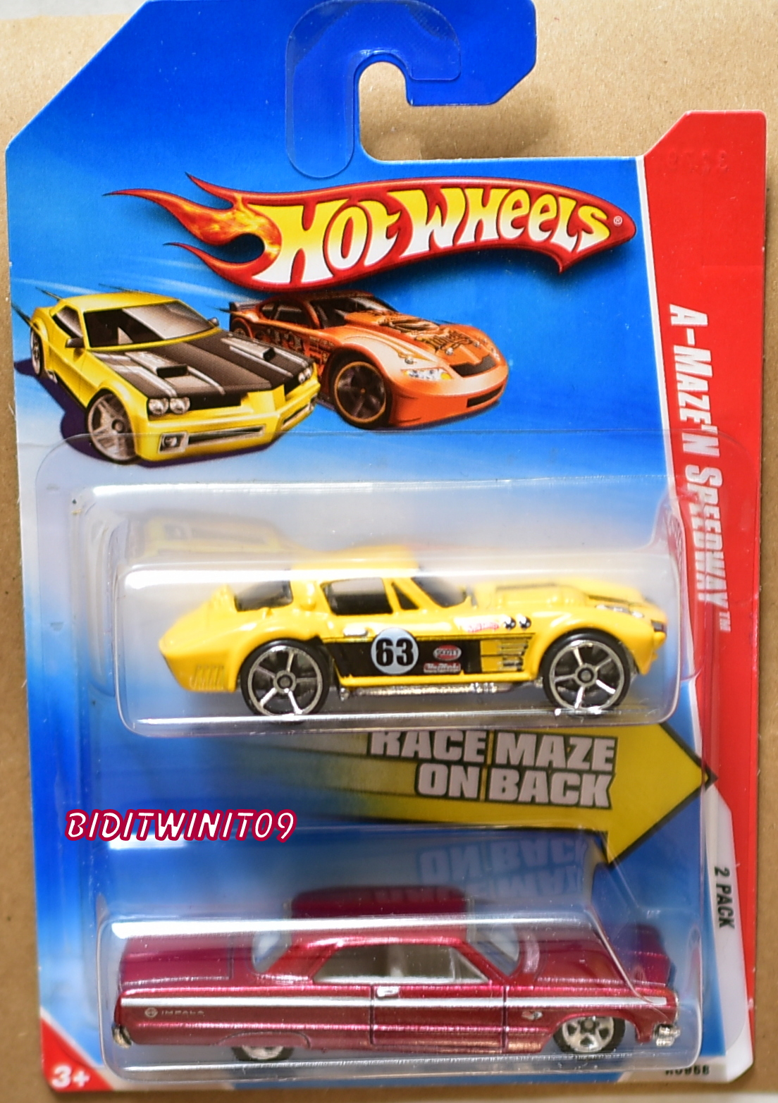 HOT WHEELS 2010 A-MAZE'N SPEEDWAY CORVETTE GRAND SPORT - '64 IMPALA 2 PACK E+