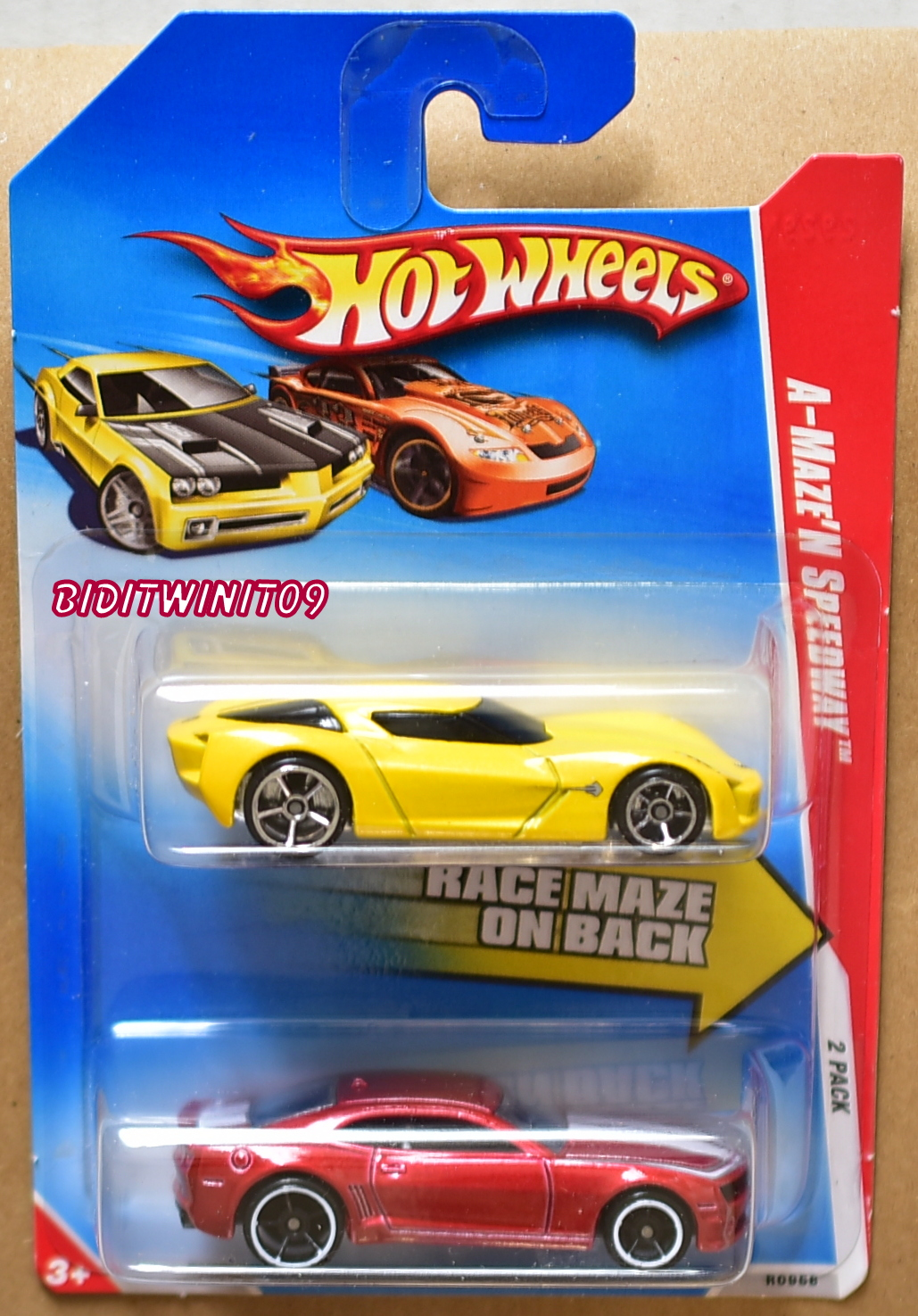 HOT WHEELS 2009 CORVETTE STINGRAY CORVETTE - '10 CAMARO 2 CAR PACK E+