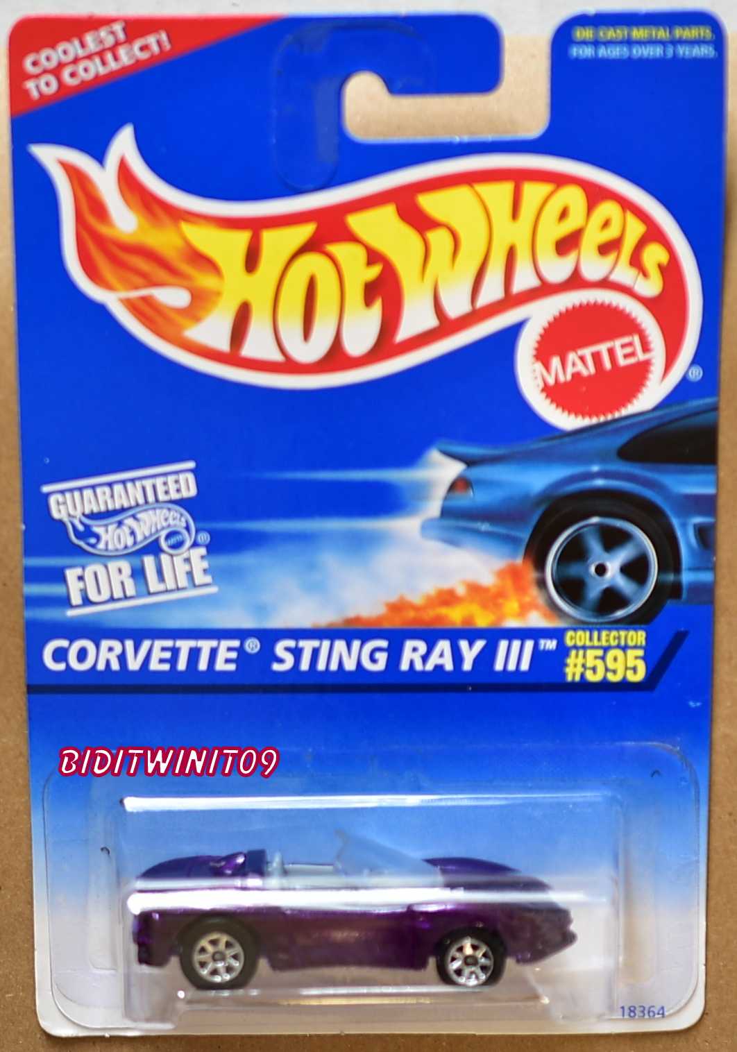 HOT WHEELS 1996 CORVETTE STING RAY III #595 W/ 7 SPK