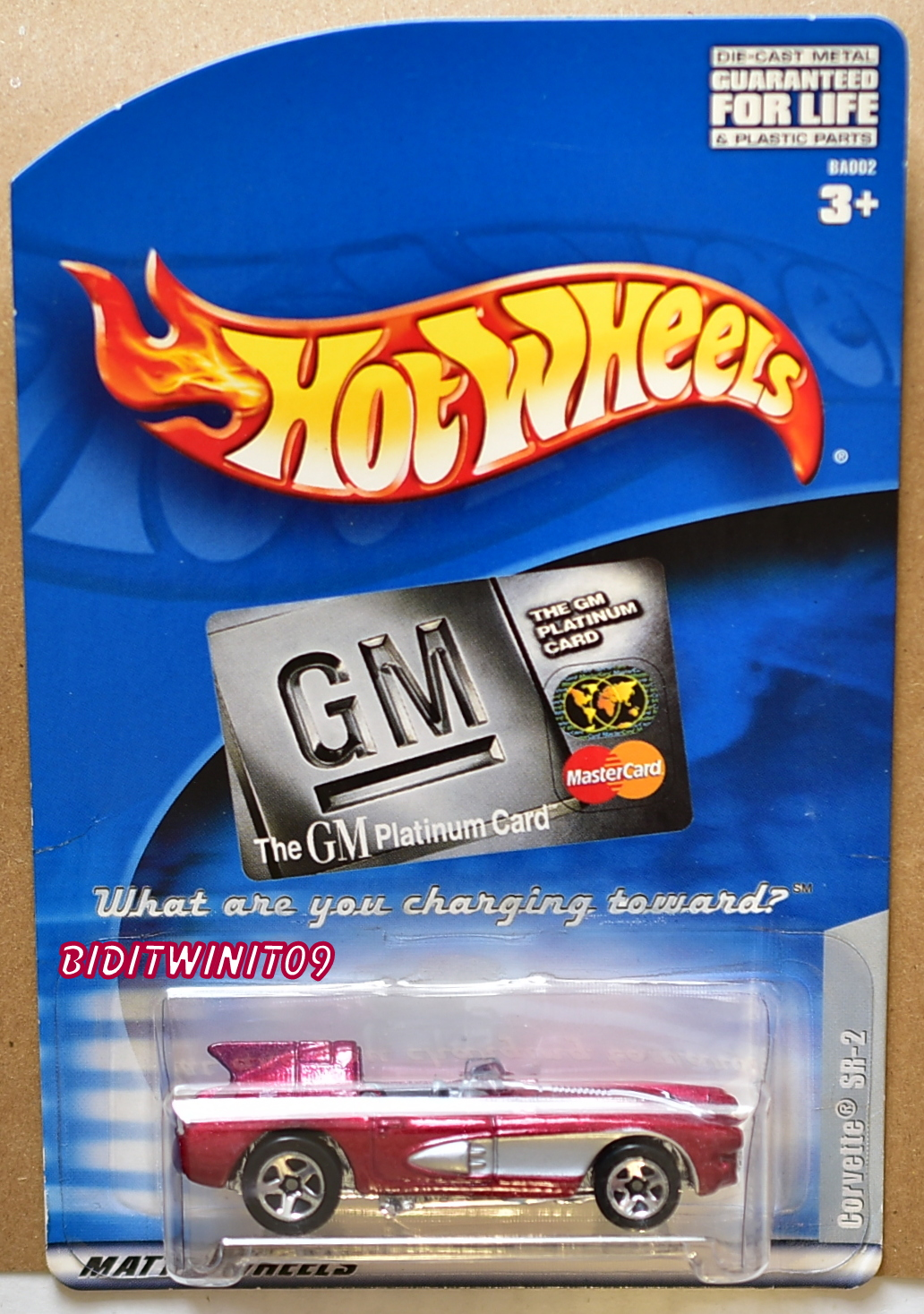 HOT WHEELS GM PLATINUM MASTER CARD CORVETTE SR-2 E+