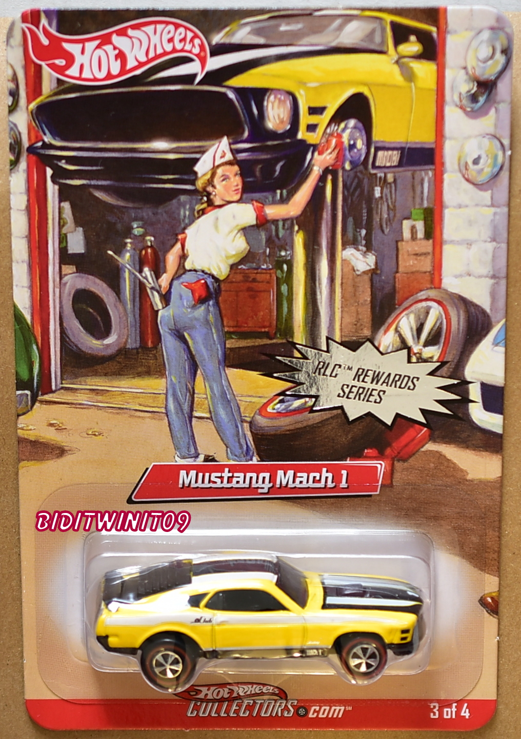 HOT WHEELS RLC REWARDS SERIES MUSTANG MACH 1 #3/4 YELLOW E+