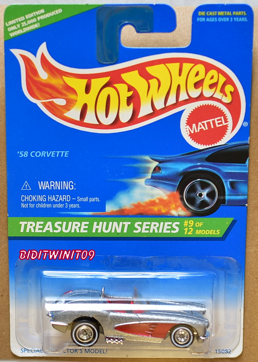 HOT WHEELS 1996 TREASURE HUNT SERIES '58 CORVETTE #9/12 SILVER