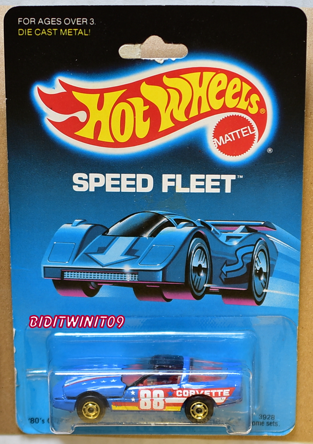 HOT WHEELS 1988 SPEED FLEET CUSTOM CORVETTE RED LUGGAGE E+