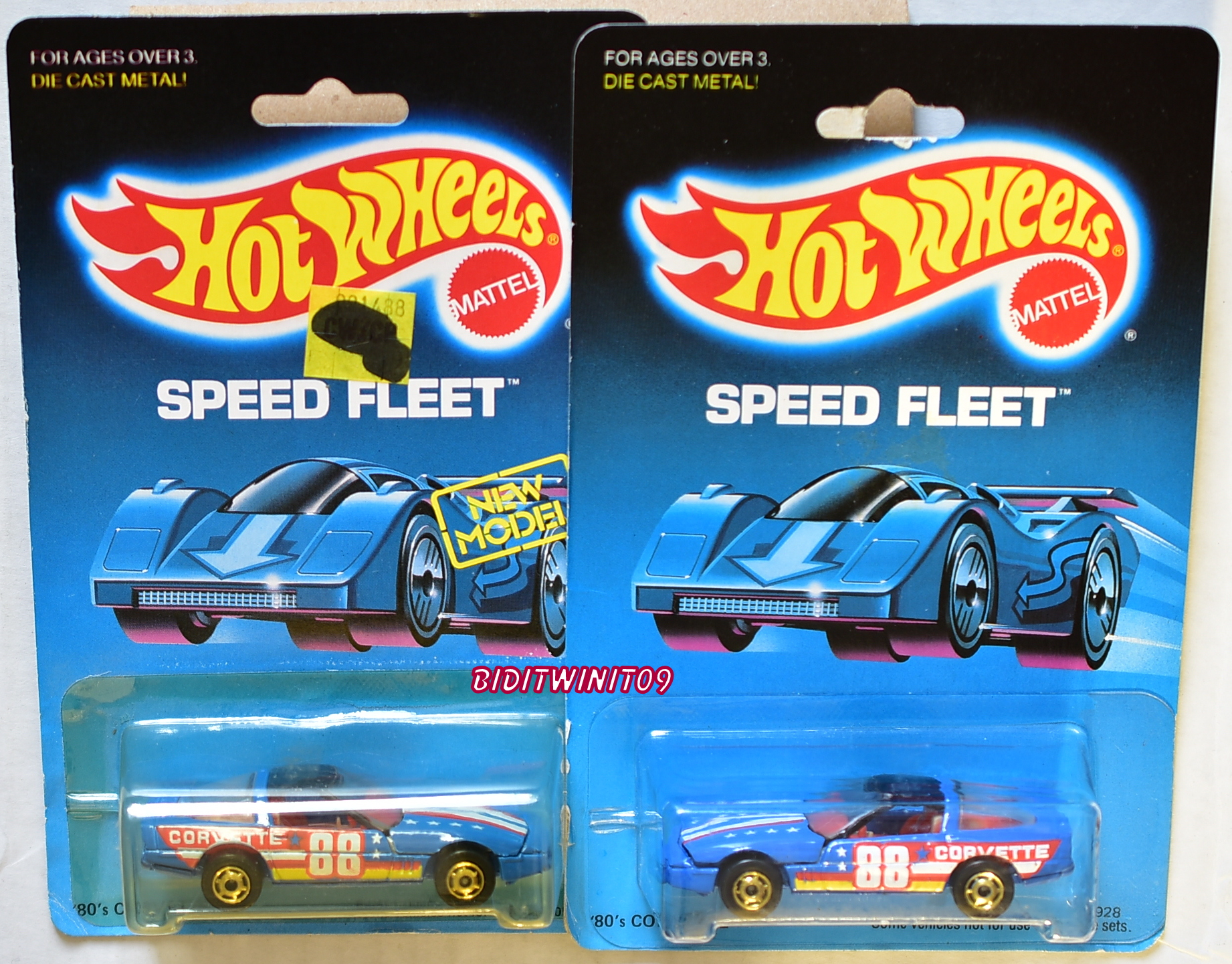 HOT WHEELS 1988 SPEED FLEET CUSTOM CORVETTE FACING EACH OTHER E+