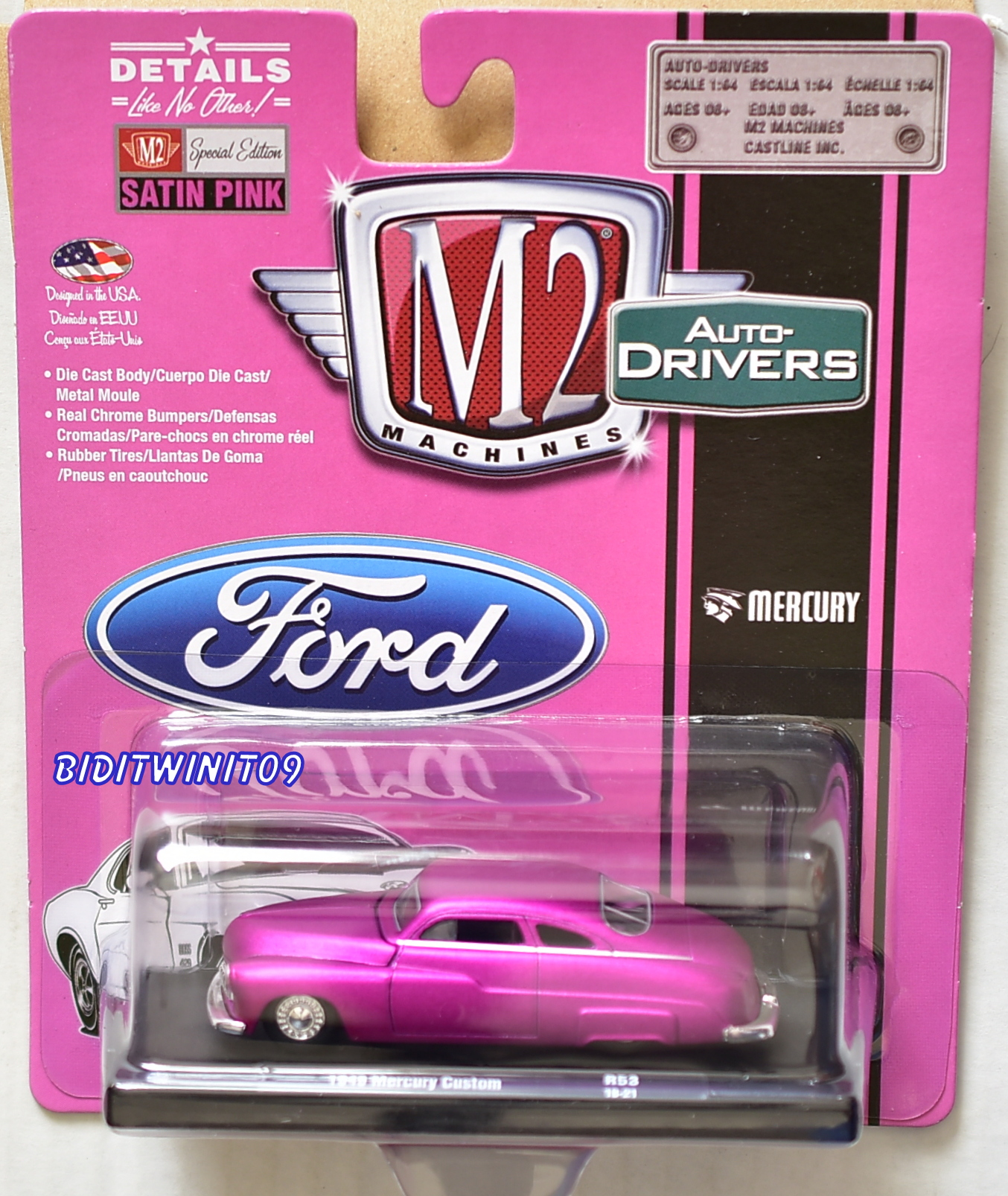 M2 MACHINES AUTO-DRIVERS 1949 MERCURY CUSTOM PINK R53