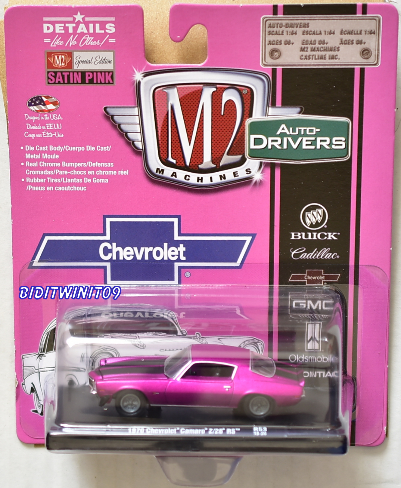 M2 MACHINES AUTO-DRIVERS 1970 CHEVROLET CAMARO Z/28 RS PINK R53