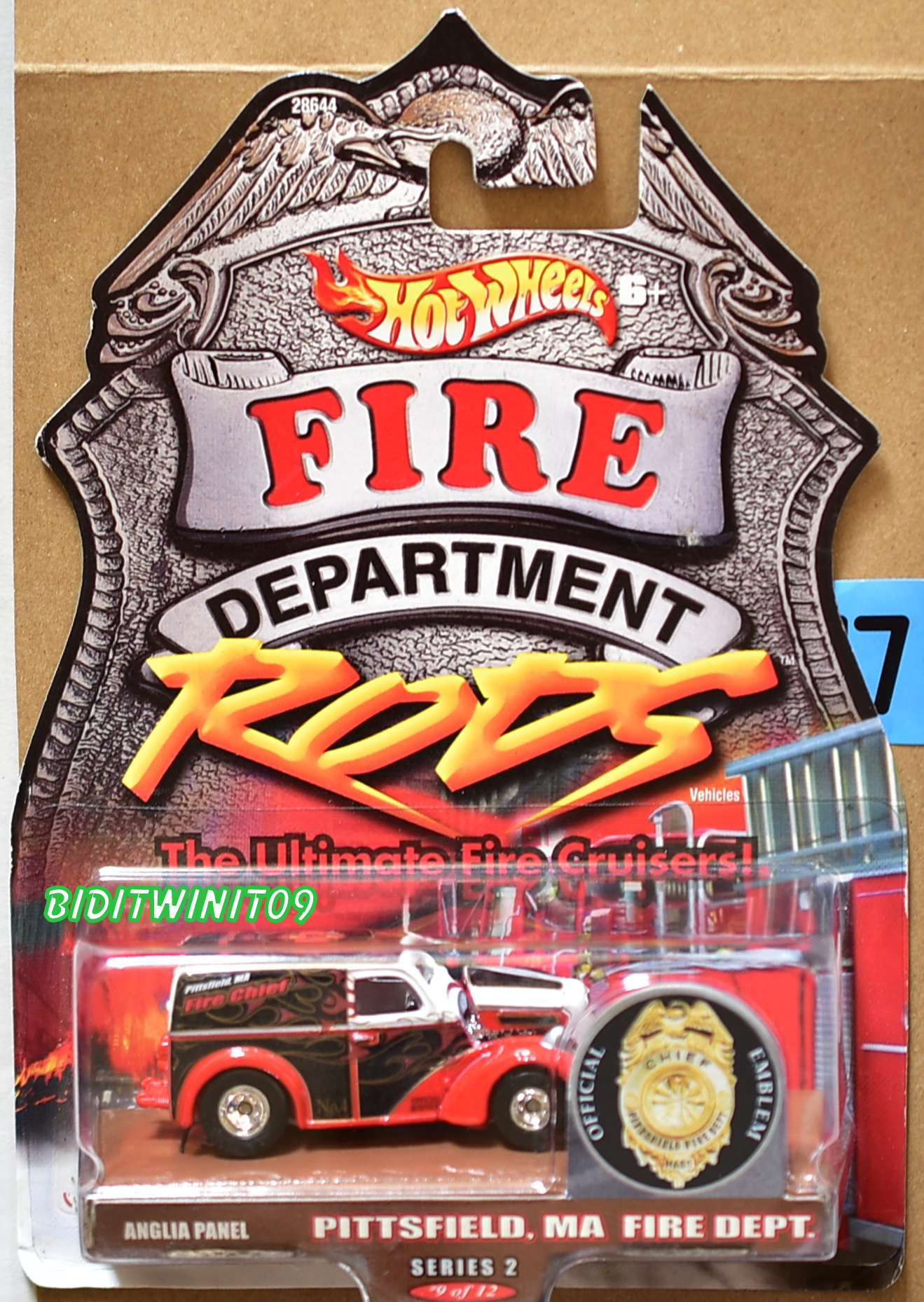 HOT WHEELS FIRE DEPARTMENT RODS PITTSFIELD MA FIRE DEPT ANGLIA PANEL E+
