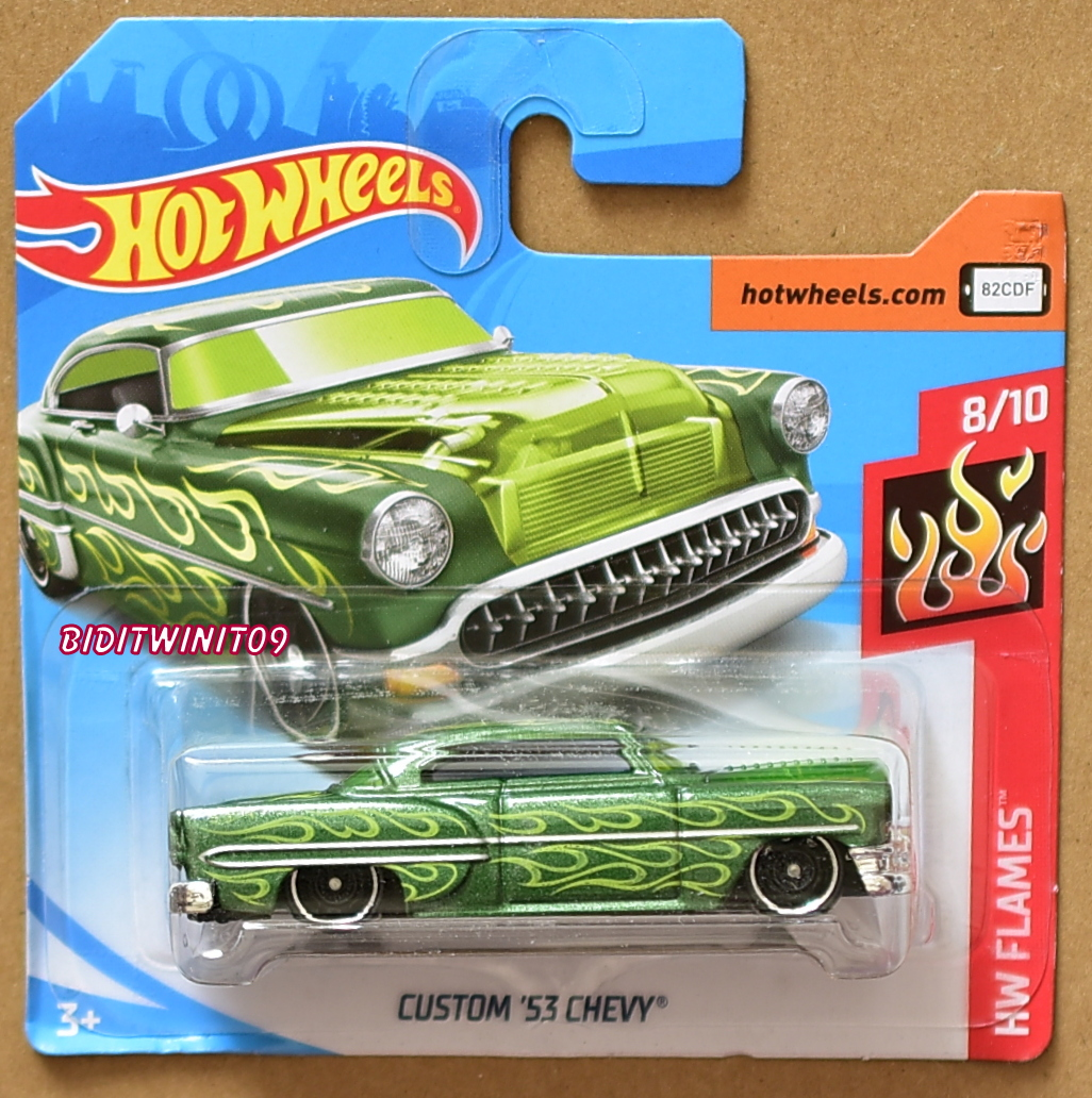 HOT WHEELS 2018 HW FLAMES CUSTOM '53 CHEVY GREEN SHORT CARD