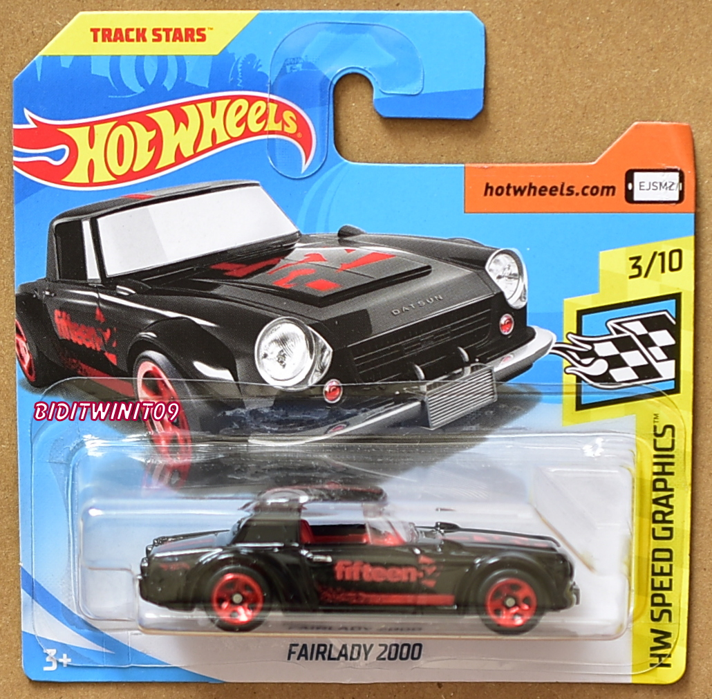 HOT WHEELS 2018 HW SPEED GRAPHICS FAIRLADY 2000 BLACK SHORT CARD