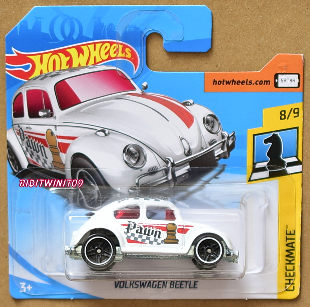 HOT WHEELS 2018 CHECKMATE VOLKSWAGEN BEETLE WHITE SHORT CARD E+